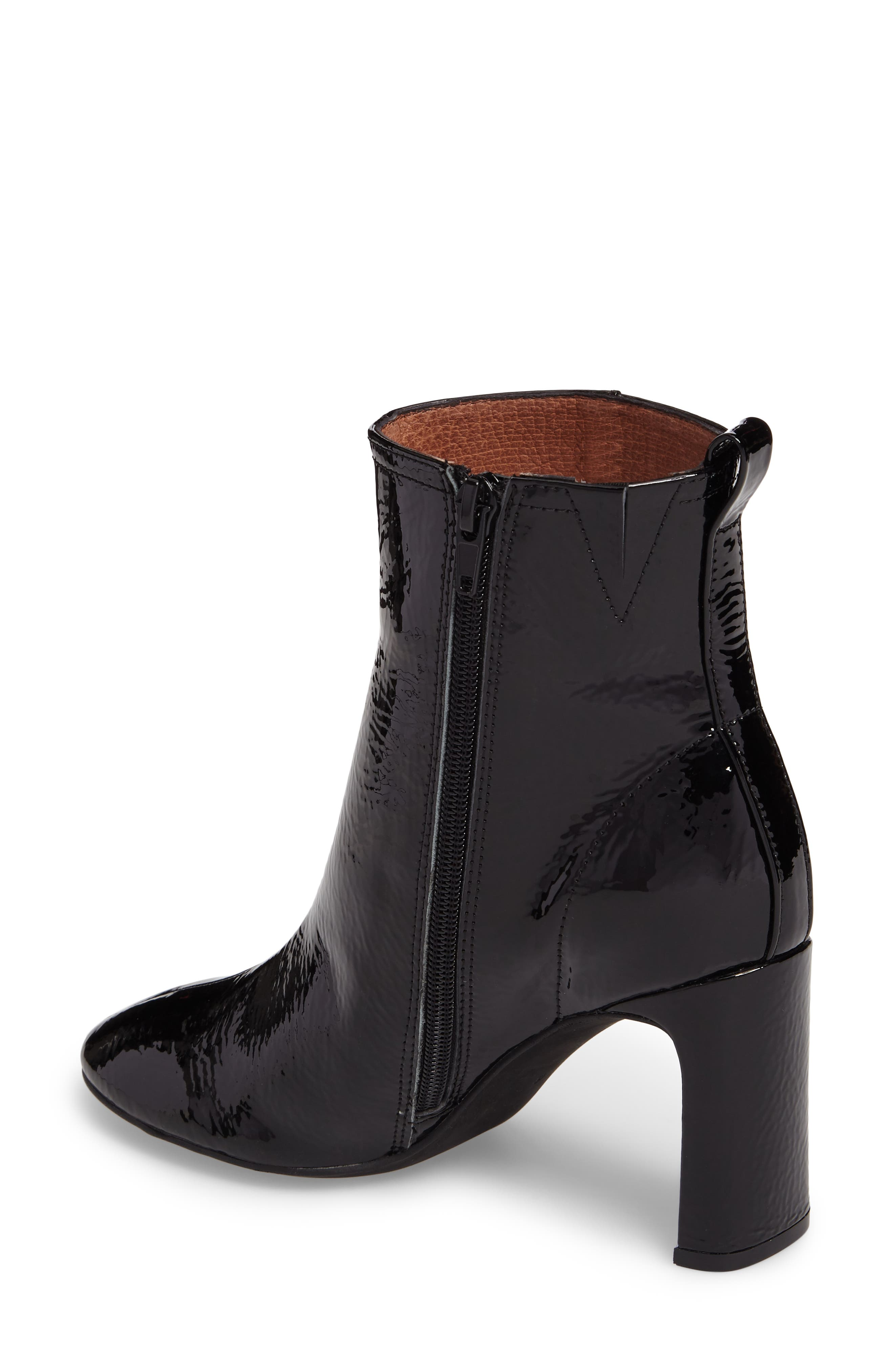 Chapel Curved Heel Bootie,                             Alternate thumbnail 2, color,                             Black Crinkle Patent