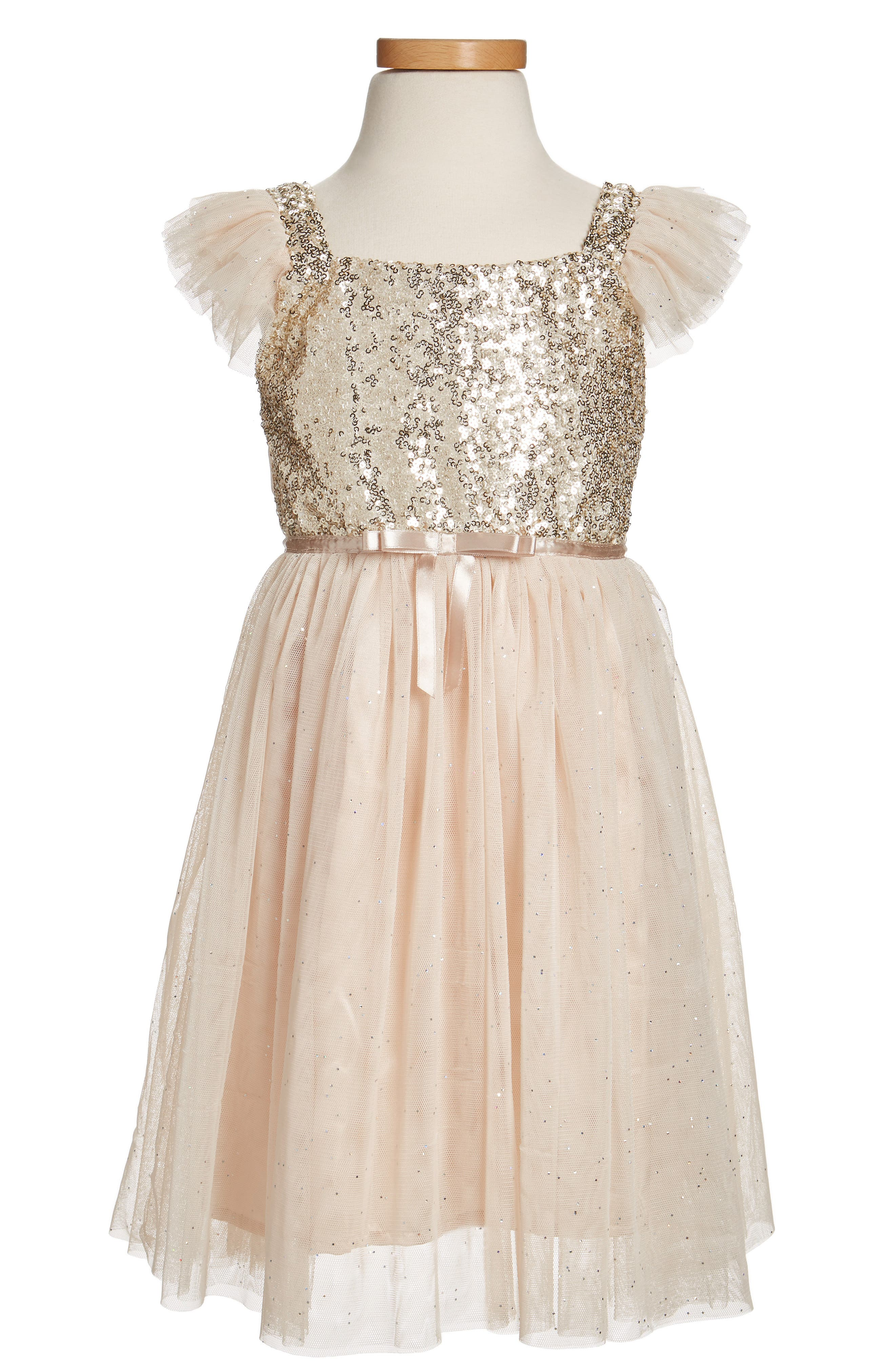 Sequin Bodice Tulle Dress,                             Main thumbnail 1, color,                             Ivory/ Gold