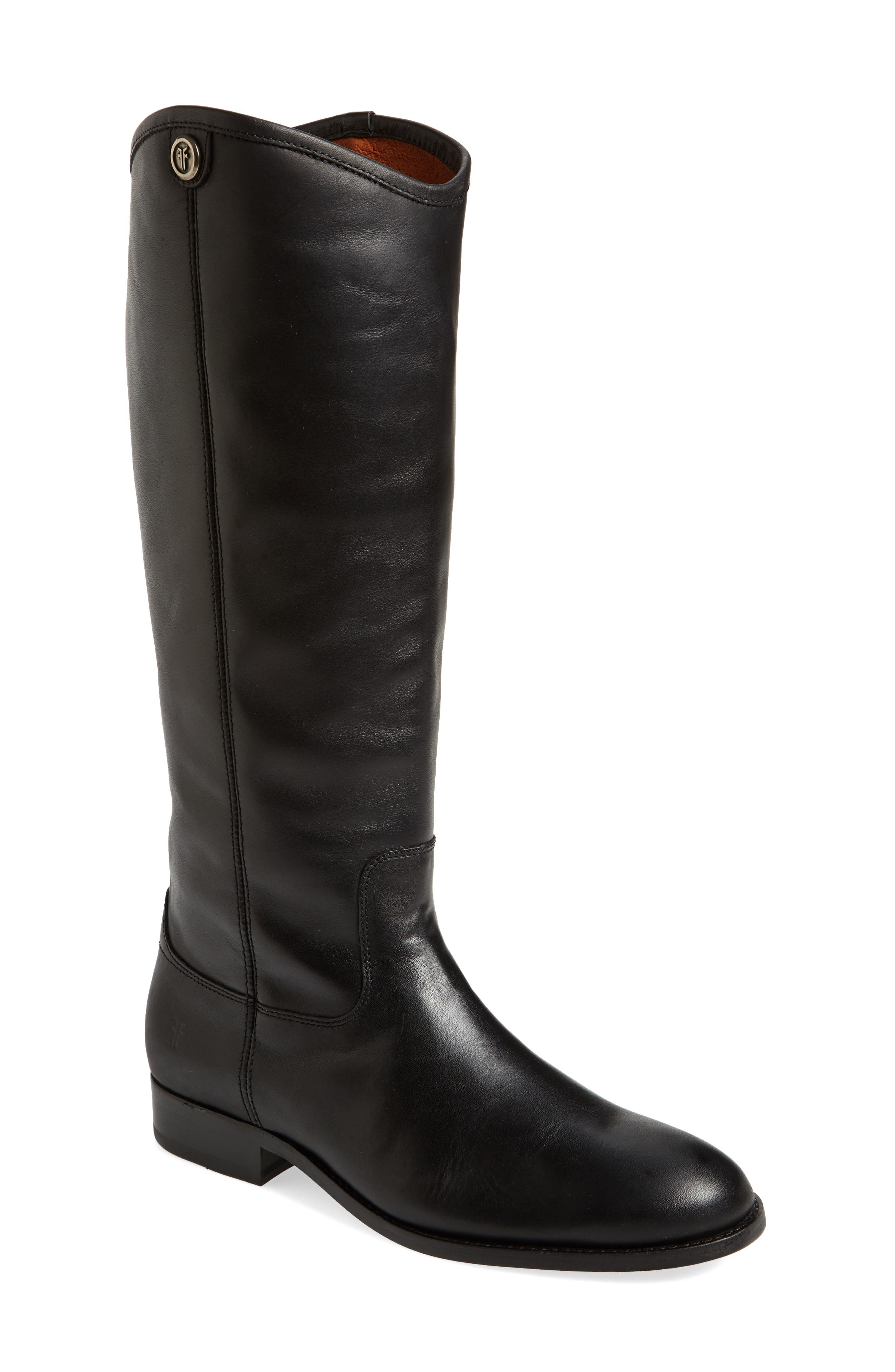 Melissa Button 2 Knee High Boot,                             Main thumbnail 1, color,                             Black Leather