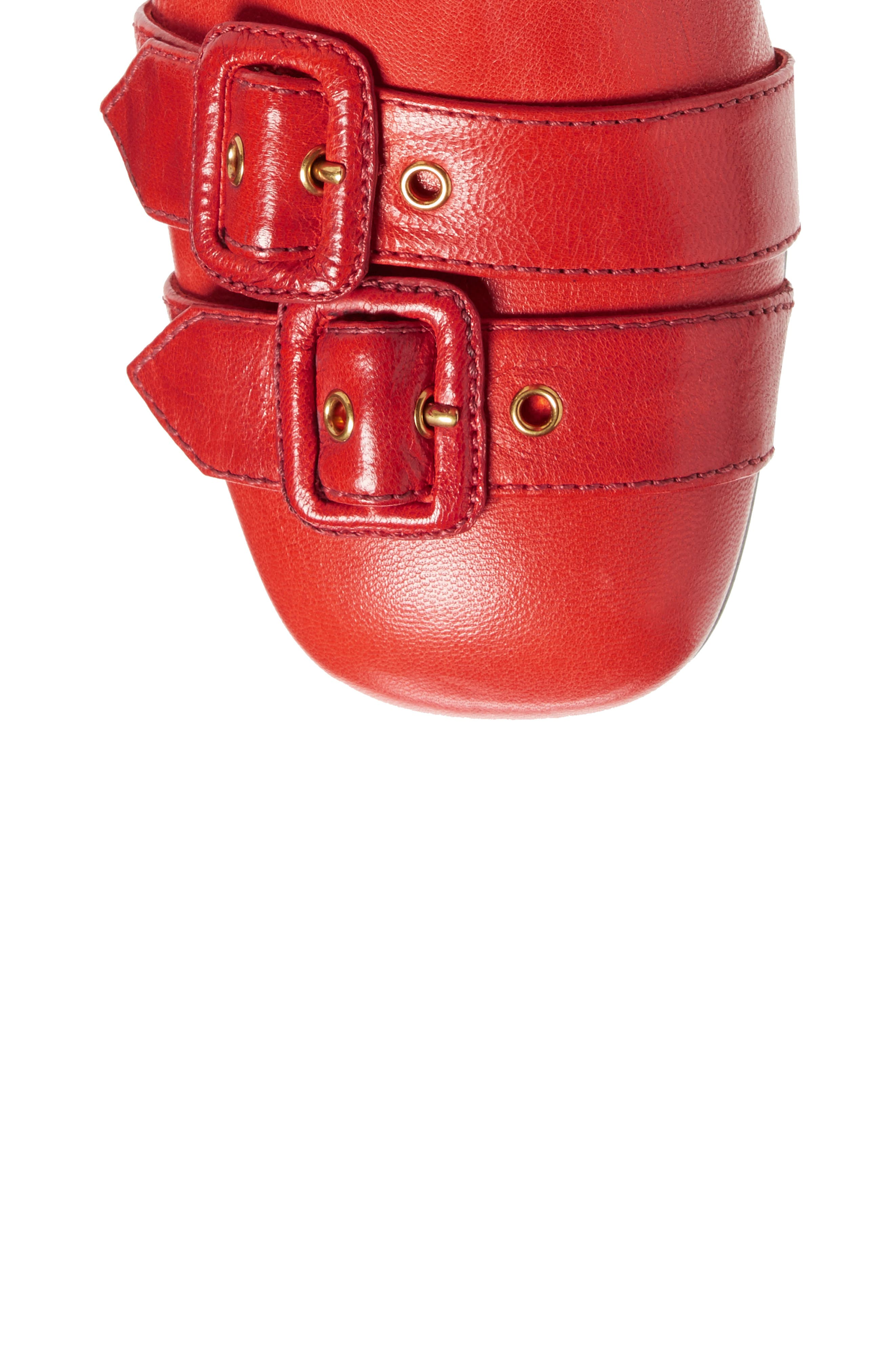 Over the Knee Boot,                             Alternate thumbnail 4, color,                             Red Leather