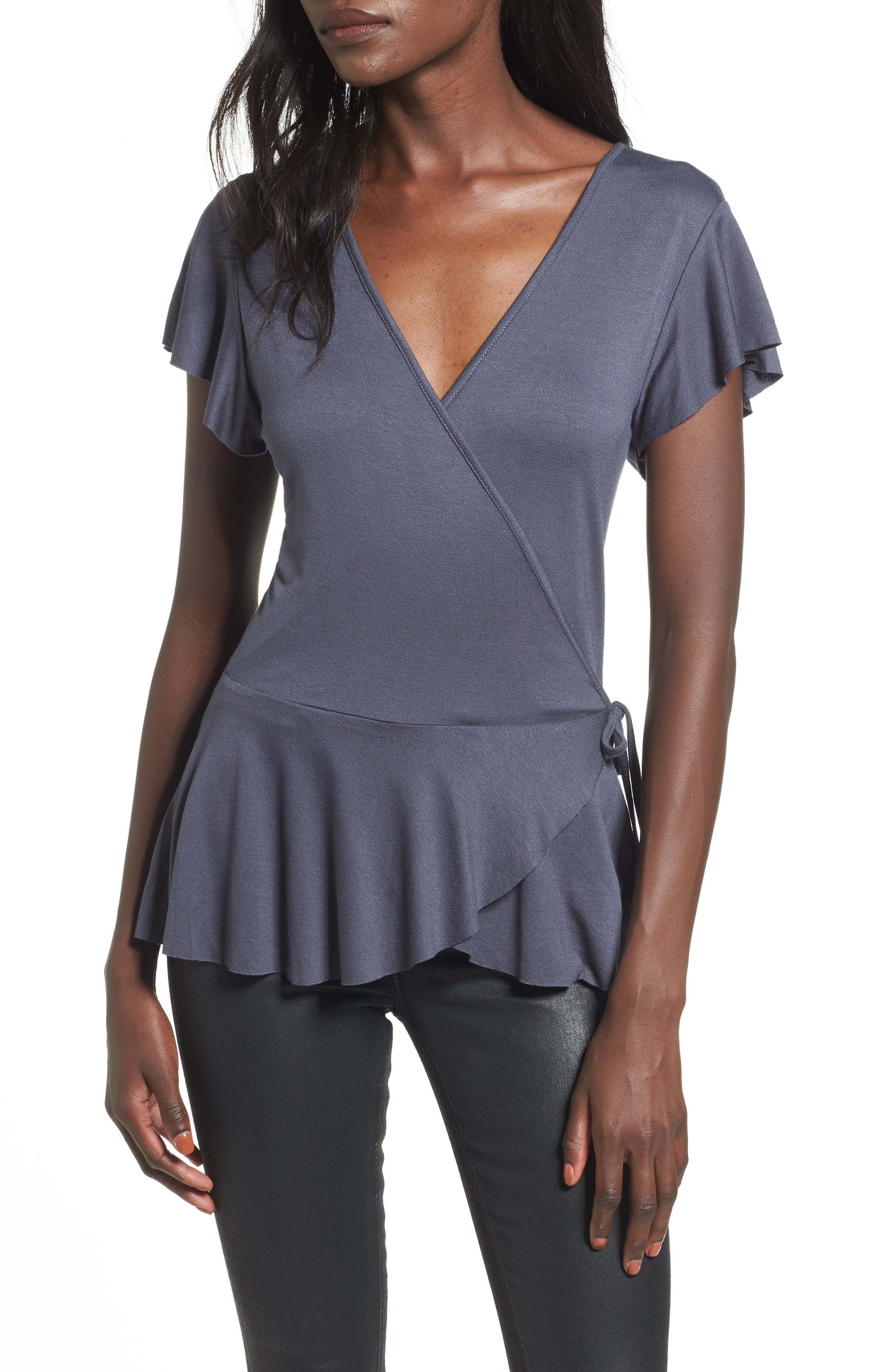 Ruffle Wrap Top,                         Main,                         color, Navy India Ink