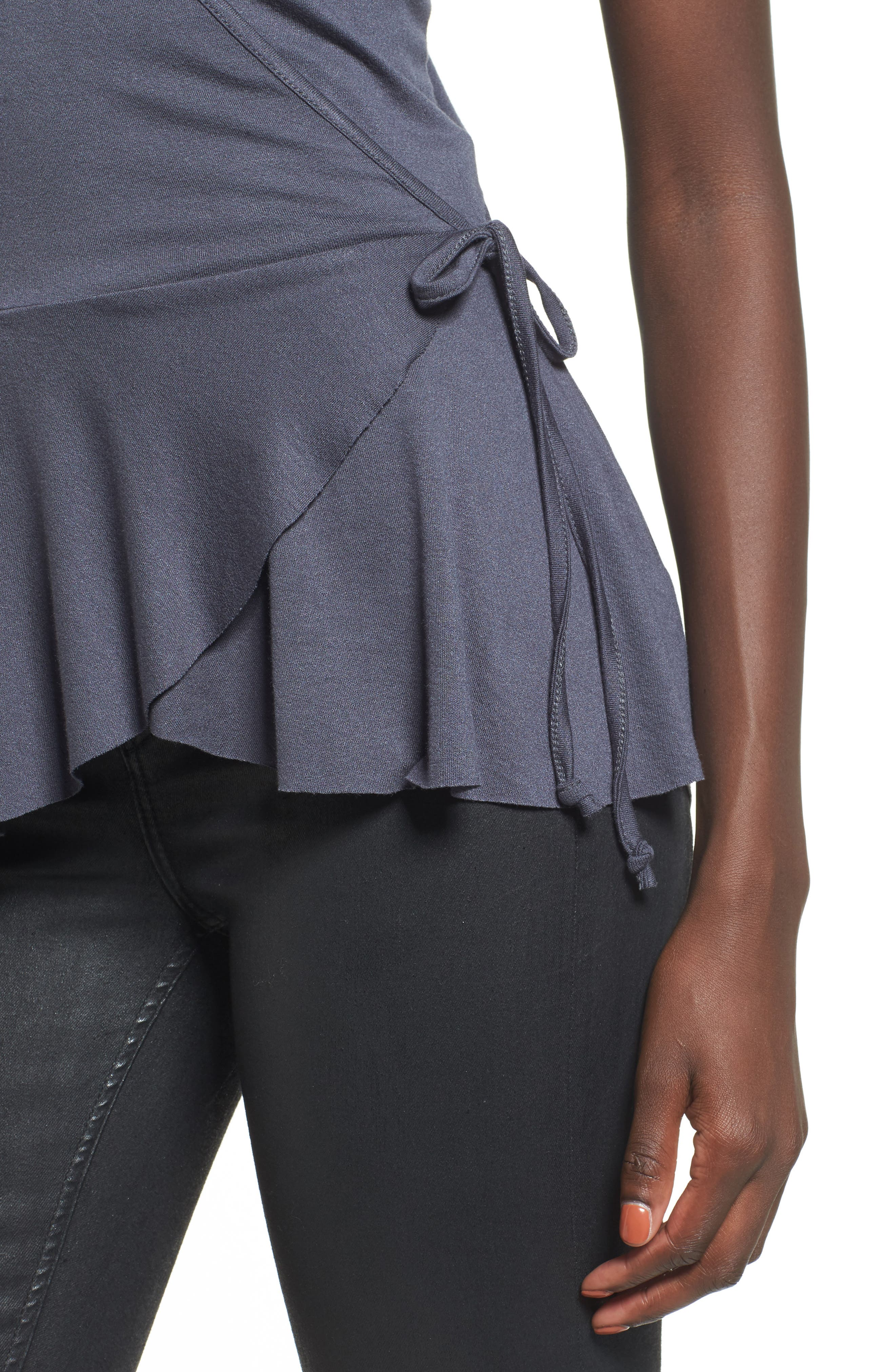 Ruffle Wrap Top,                             Alternate thumbnail 4, color,                             Navy India Ink