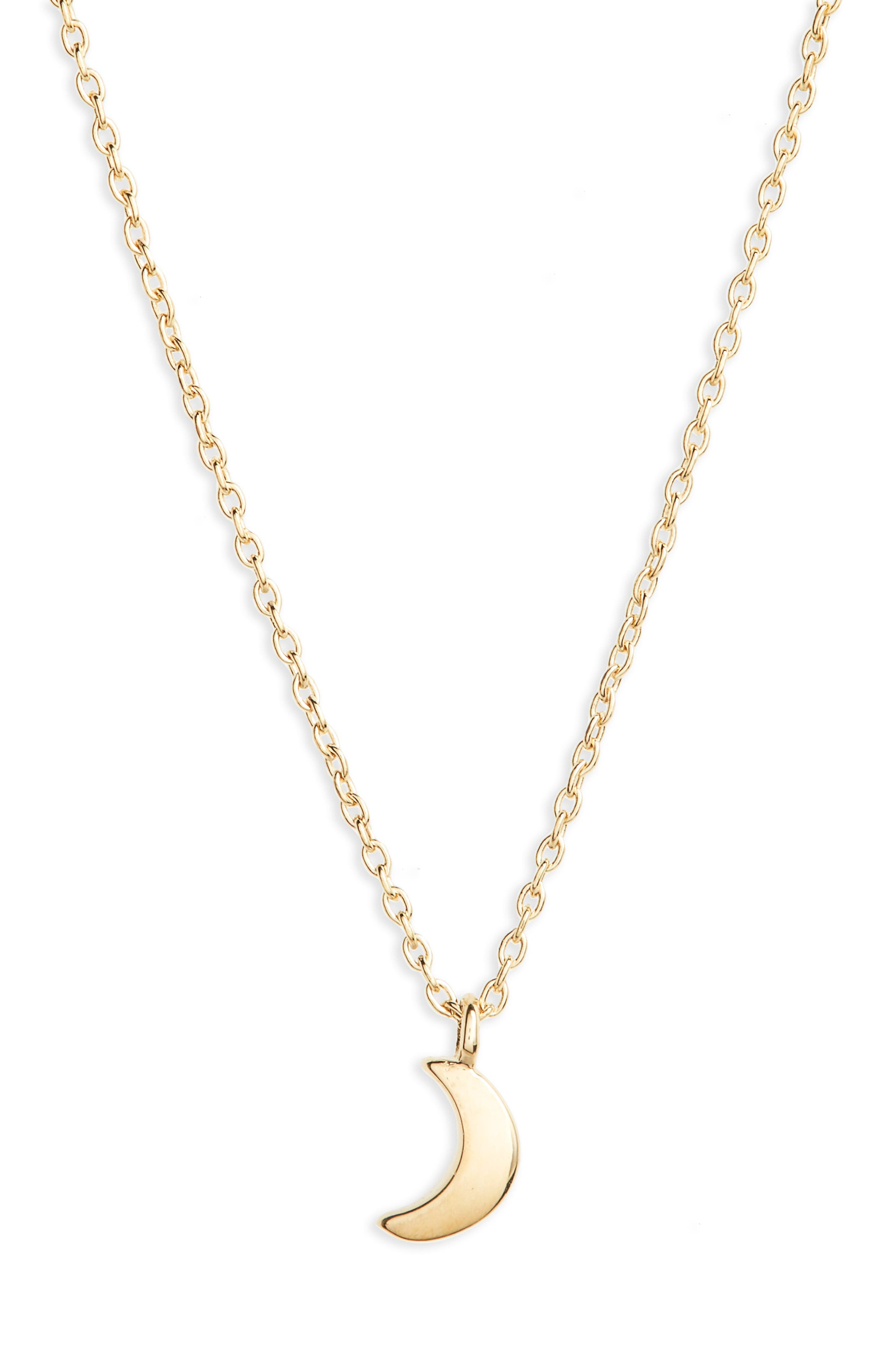 Crescent Moon Charm Necklace,                         Main,                         color, 14K Gold