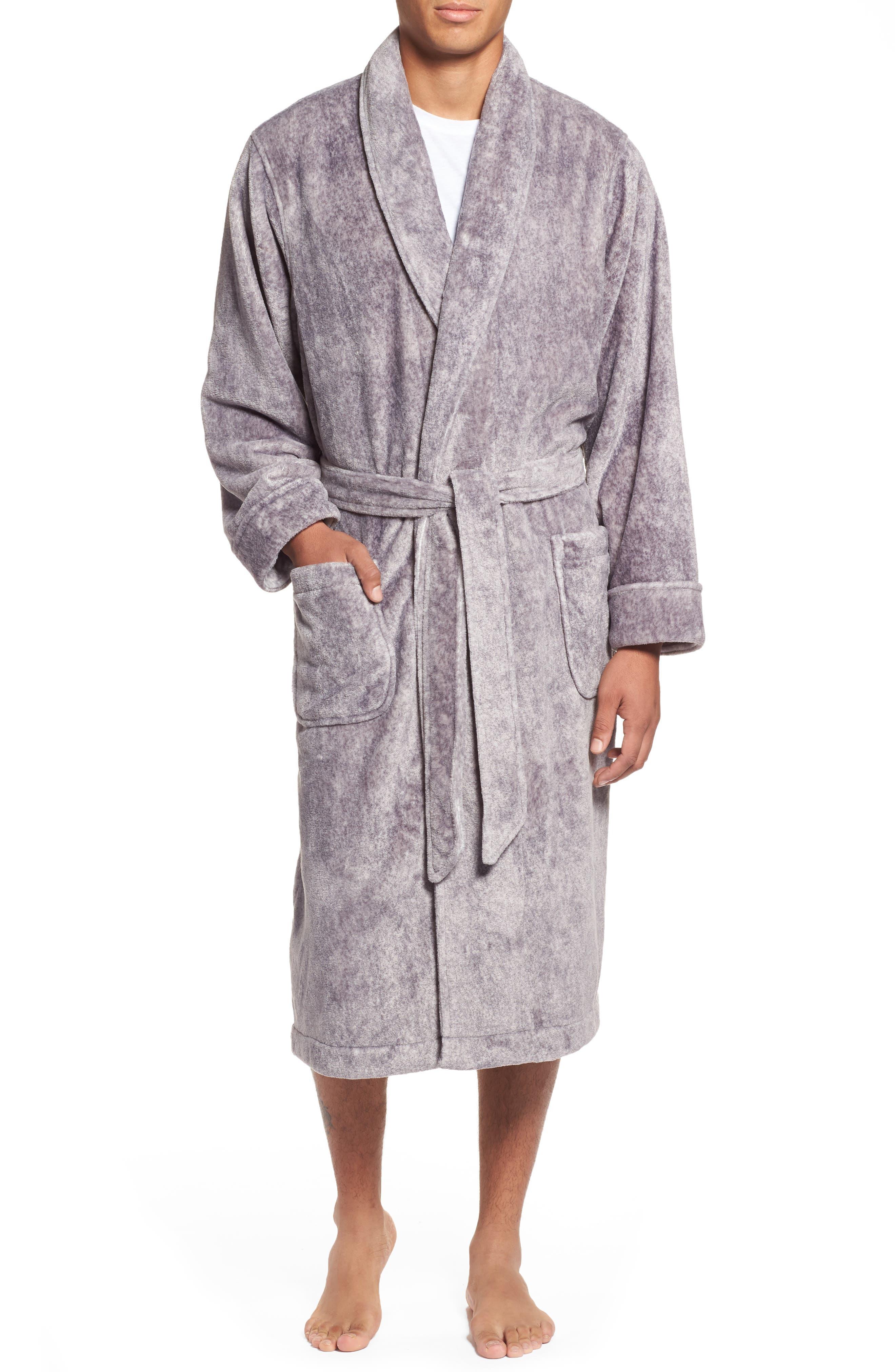 Heathered Fleece Robe,                         Main,                         color, Grey Heather