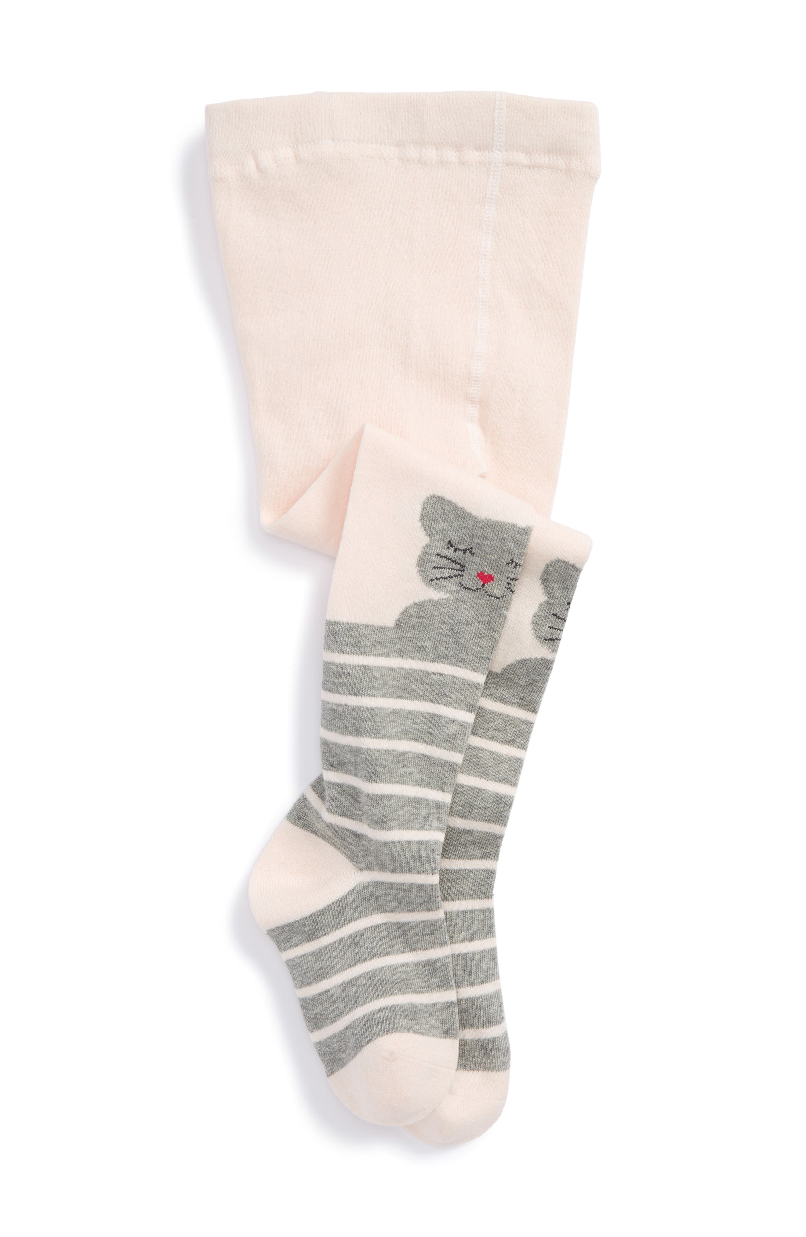 Kitty Stretch Cotton Tights,                             Main thumbnail 1, color,                             Grey Kitty