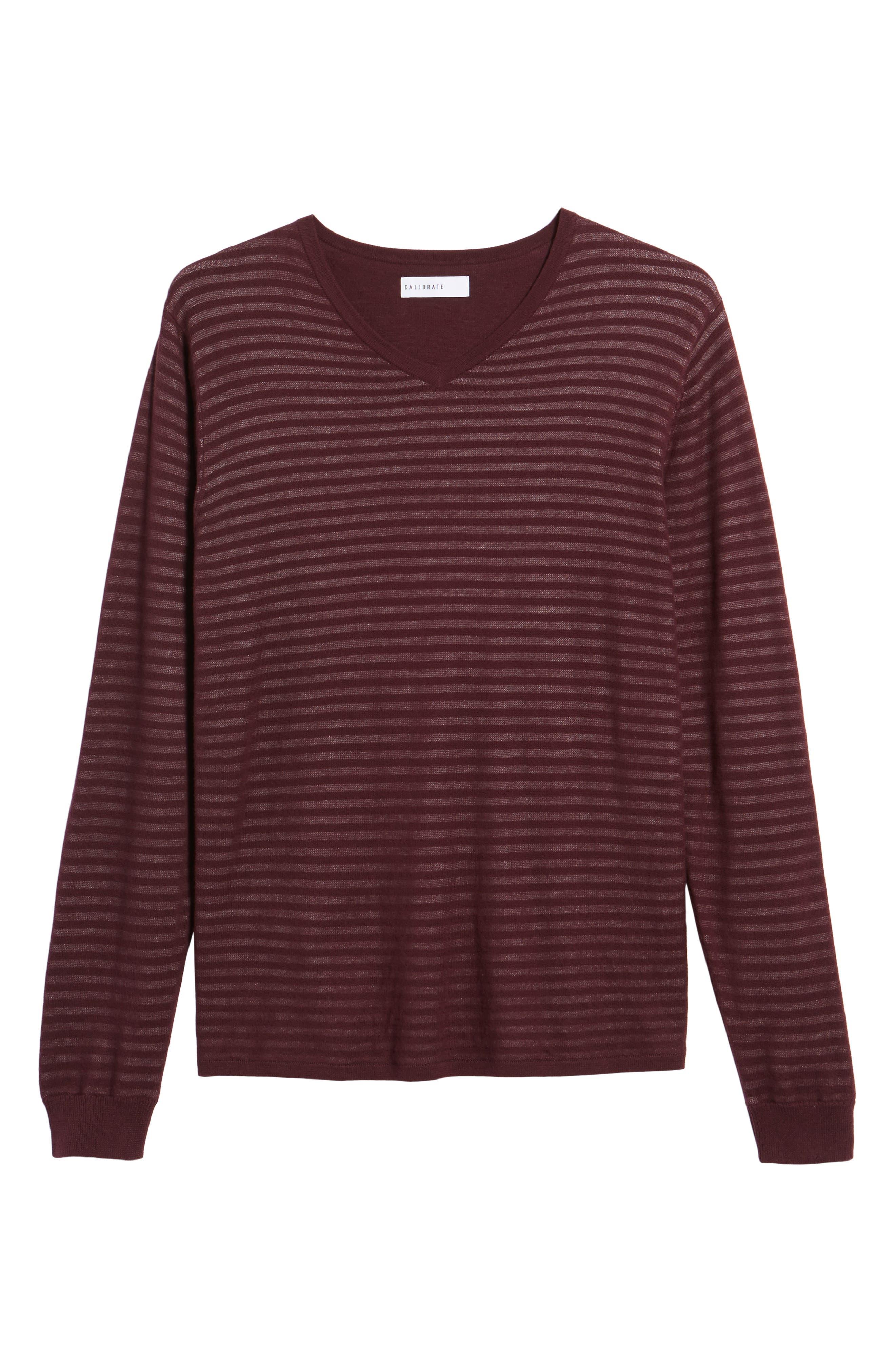 Stripe V-Neck Double Layer Sweater,                             Alternate thumbnail 6, color,                             Burgundy Stem Stripe