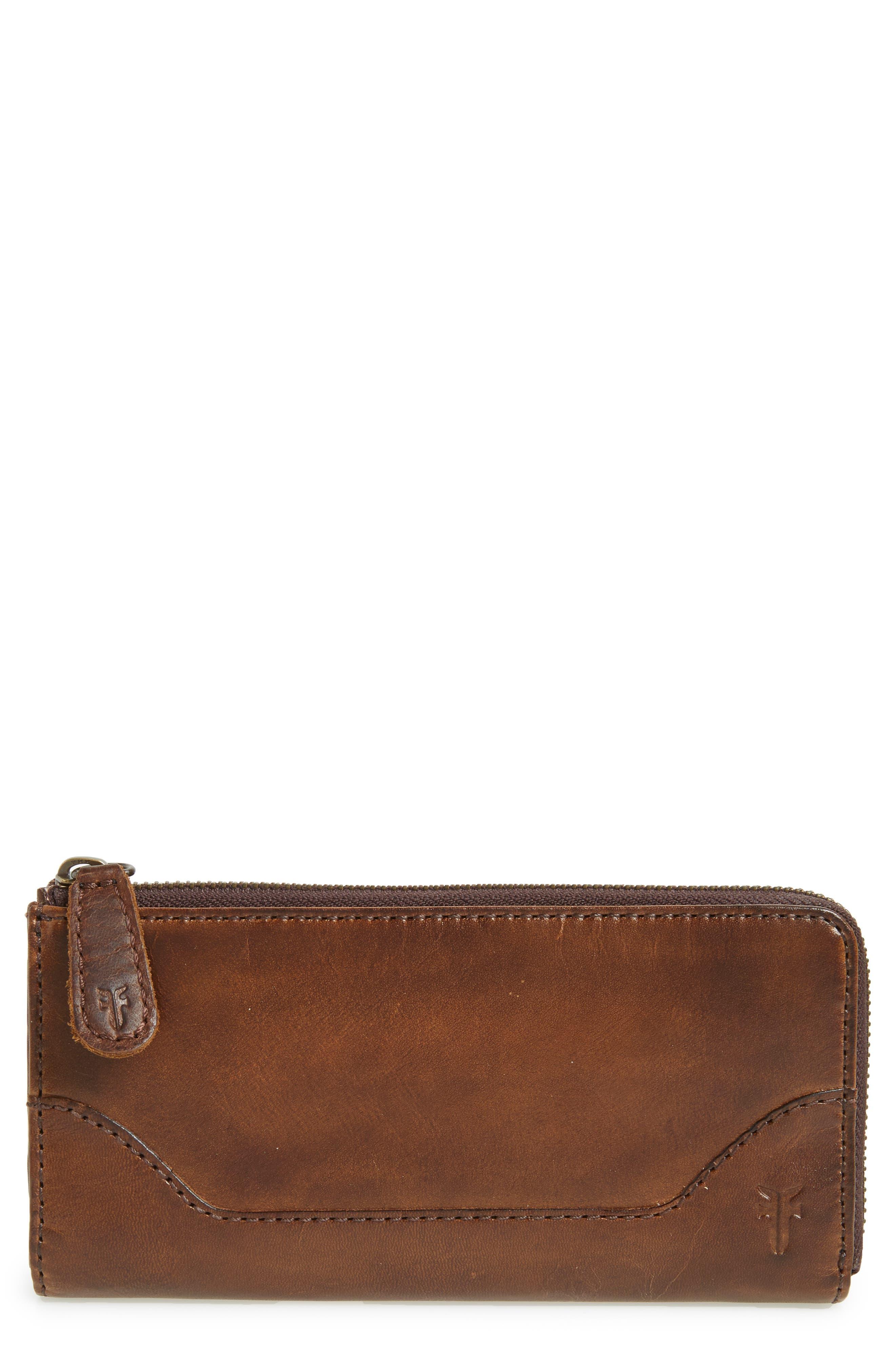 Melissa Leather Wallet,                         Main,                         color, Dark Brown