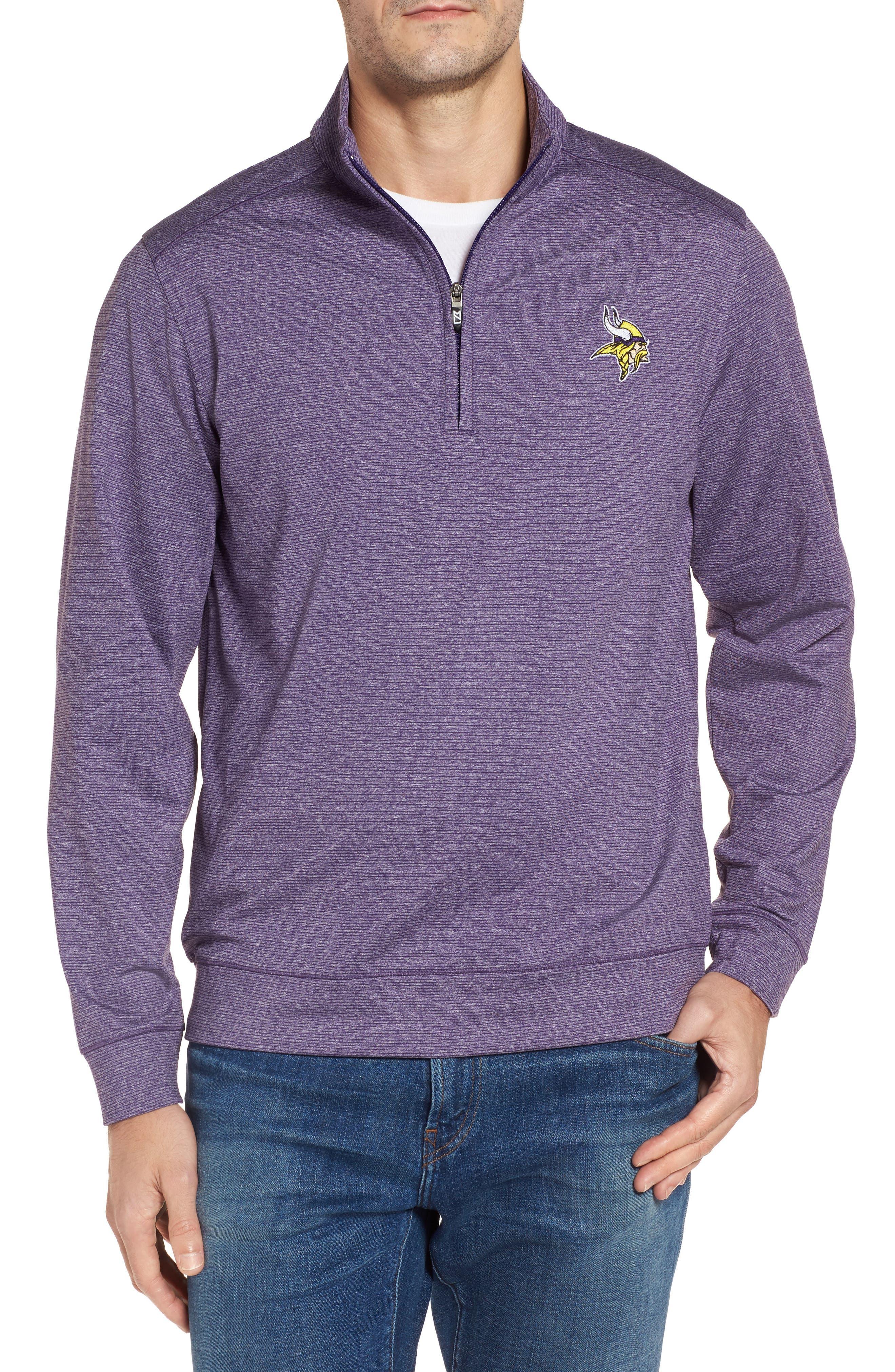 Shoreline - Minnesota Vikings Half Zip Pullover,                             Main thumbnail 1, color,                             College Purple Heather