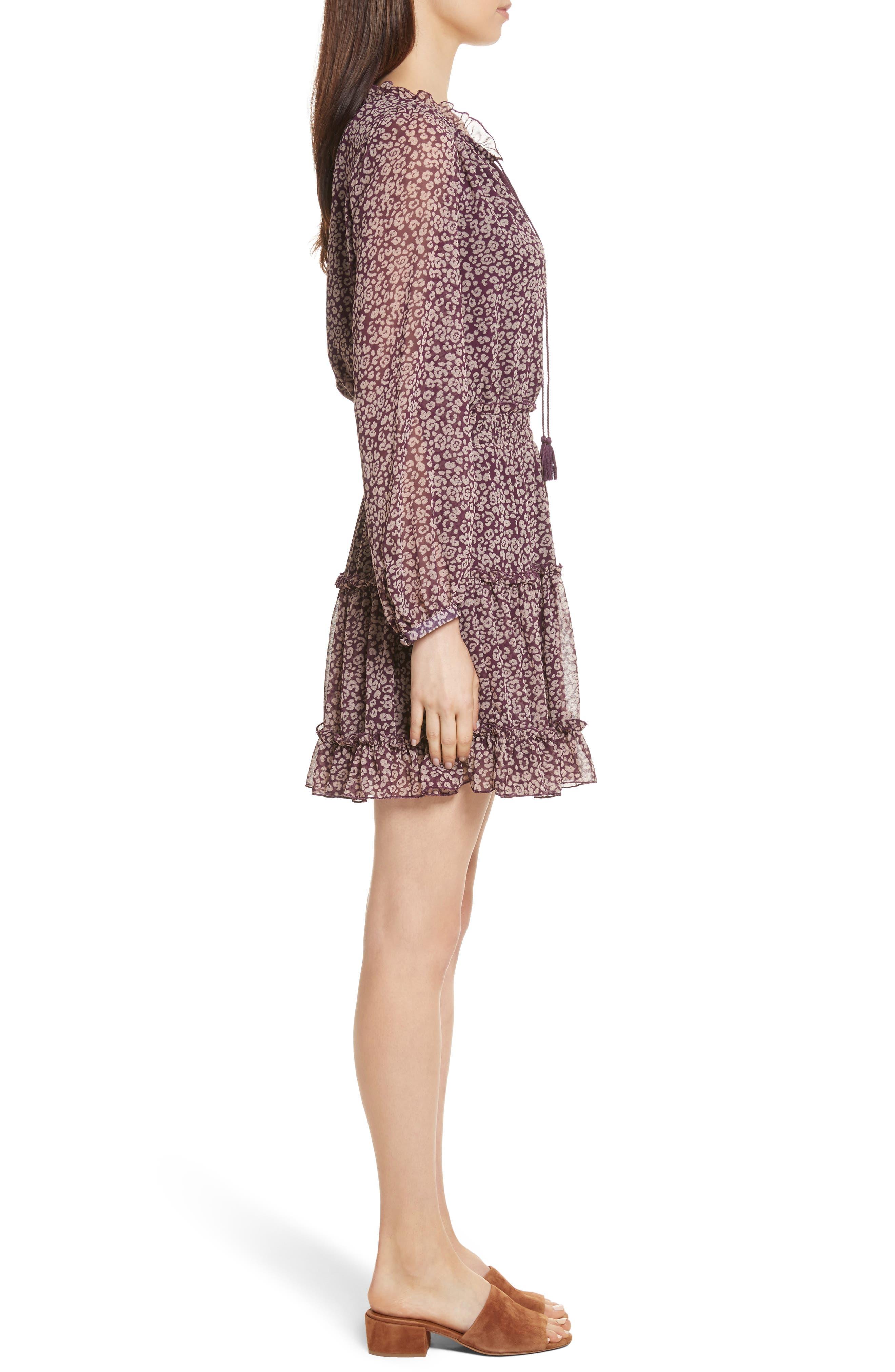 Rosemary A-Line Dress,                             Alternate thumbnail 3, color,                             Potent Purple Leopard