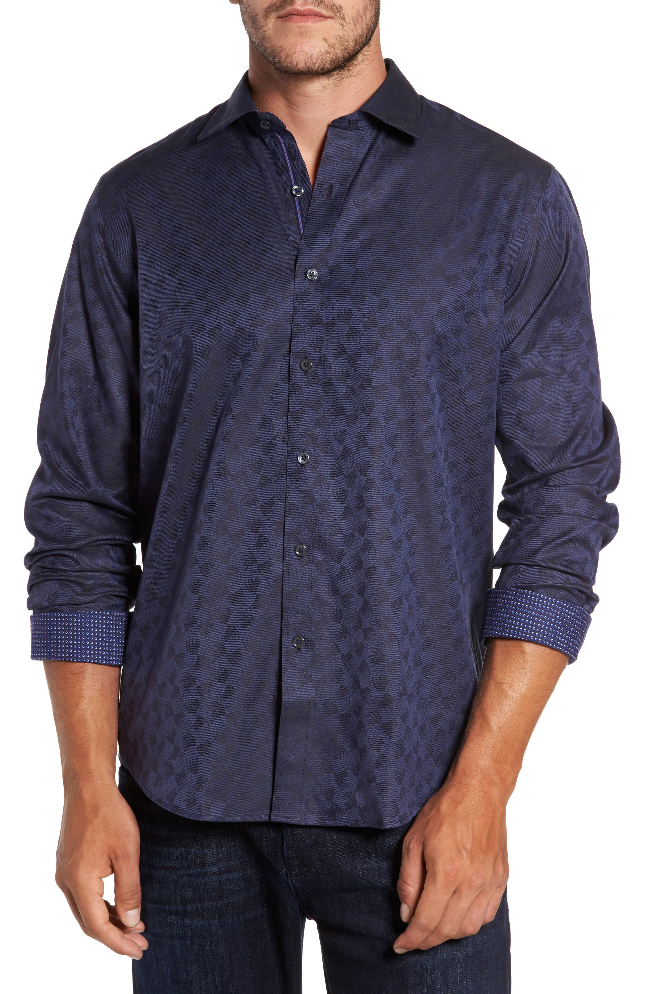 Alternate Image 1 Selected - Bugatchi Classic Fit Swirl Print Sport Shirt