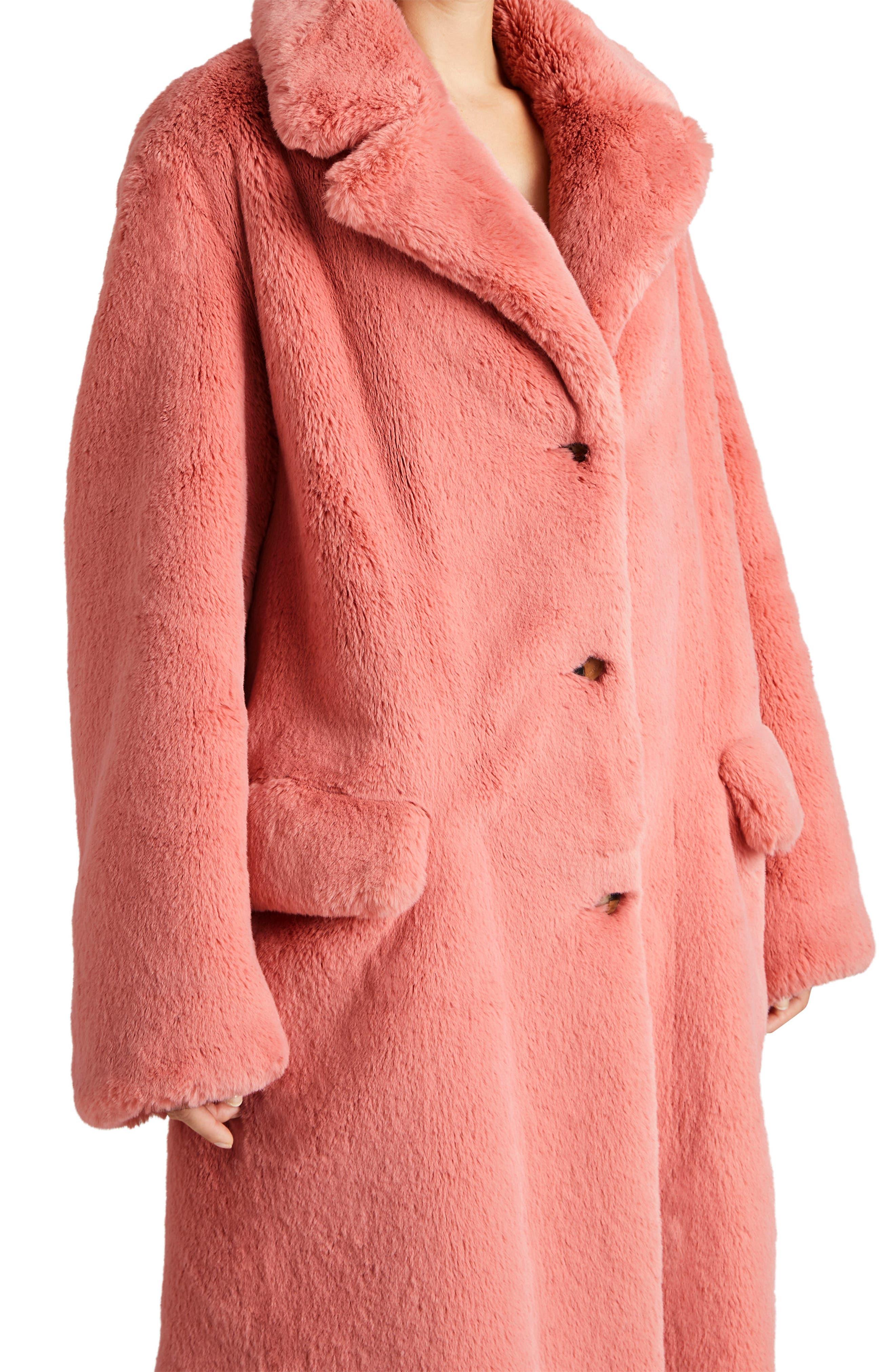 Faux Fur Coat,                             Alternate thumbnail 4, color,                             Pale Pink
