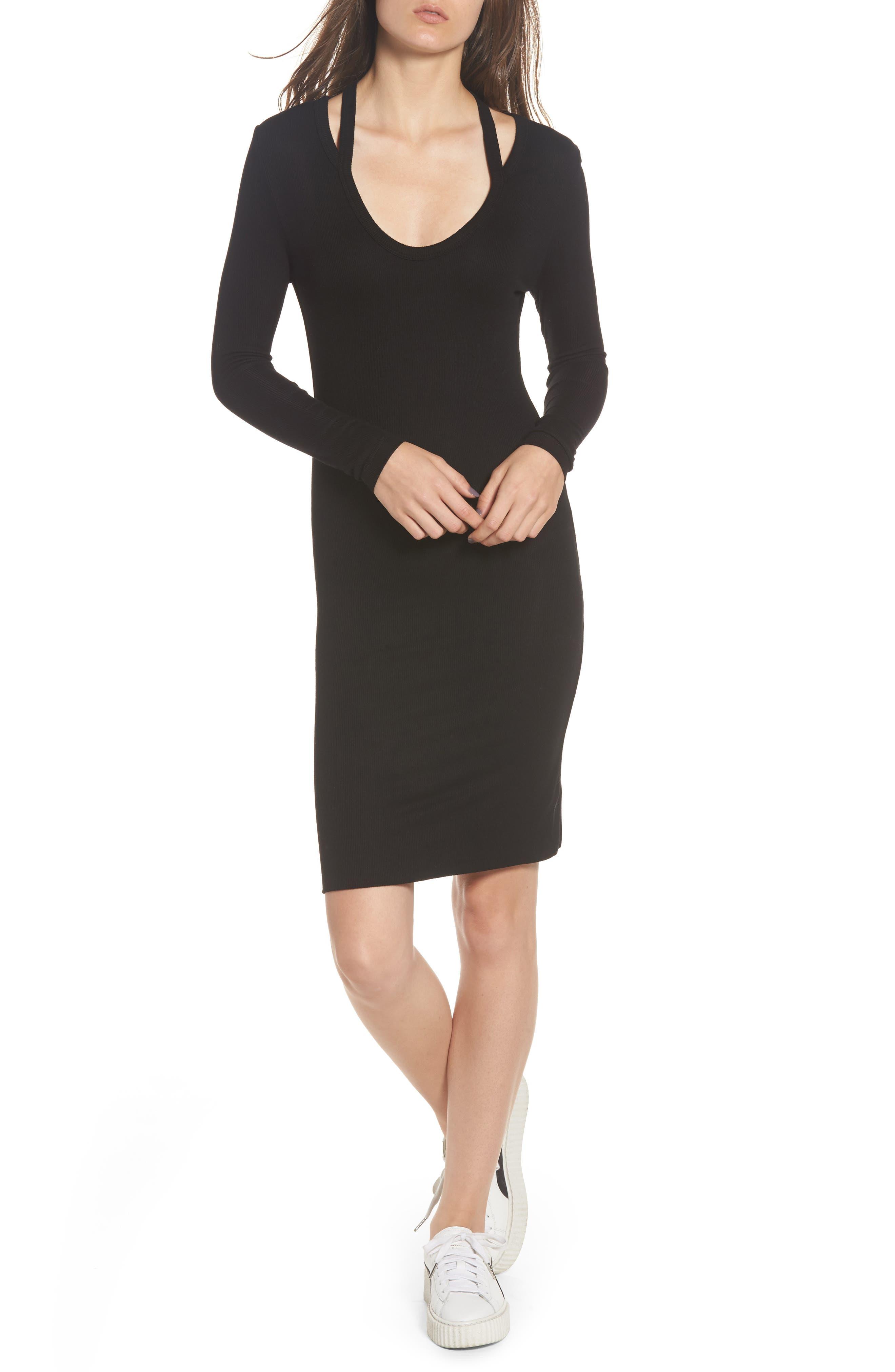 Pam & Gela Split Neck Body-Con Dress
