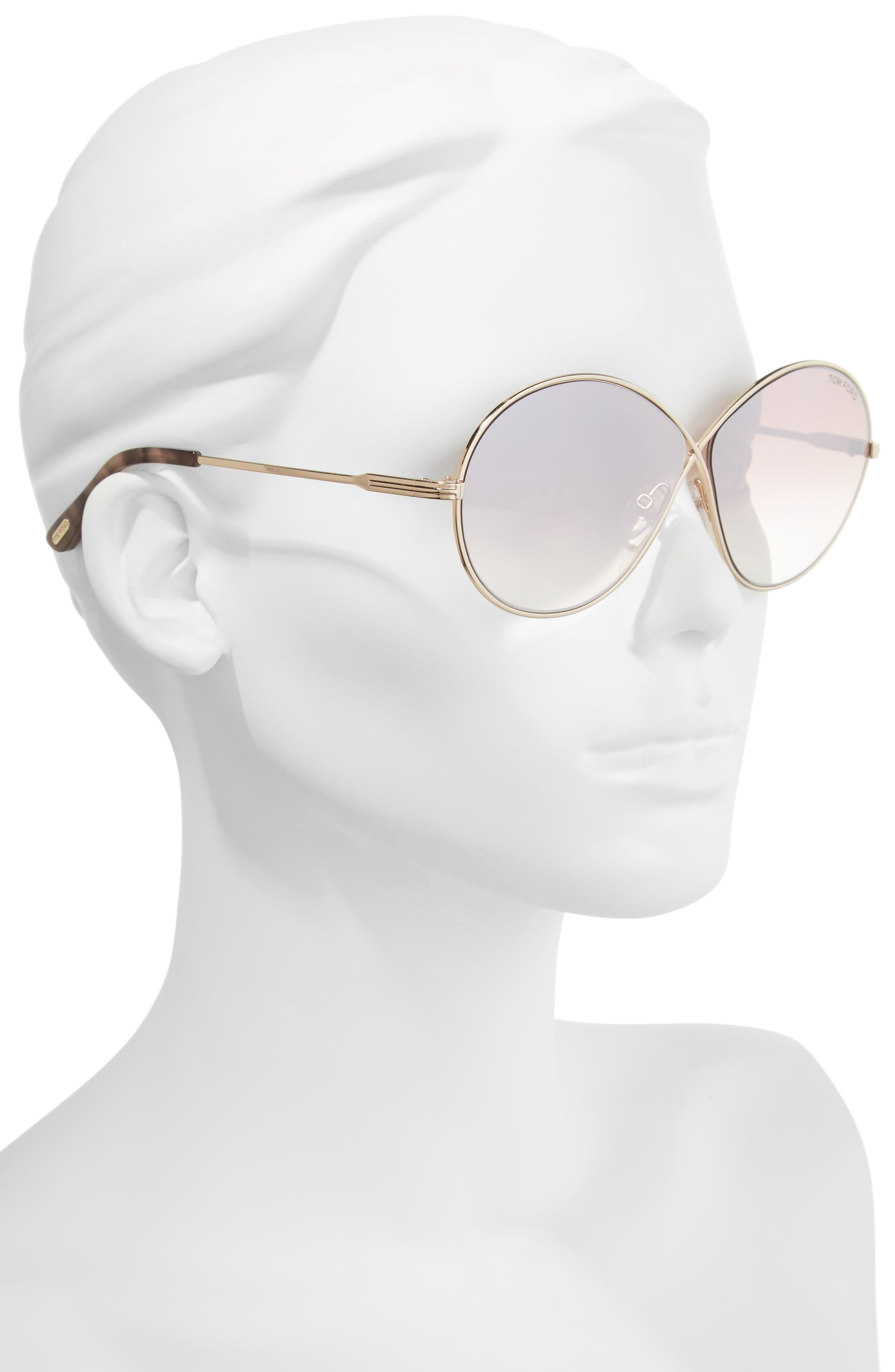 Alternate Image 2  - Tom Ford Rania 64mm Oversize Round Sunglasses