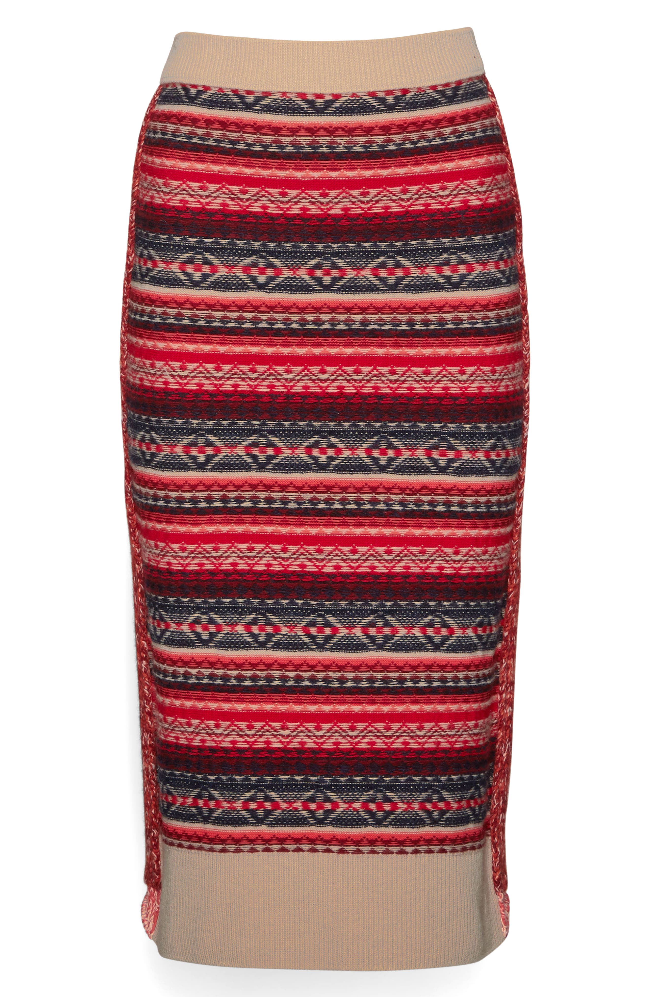 Knit Wool Blend Pencil Skirt,                             Alternate thumbnail 4, color,                             Multicolor