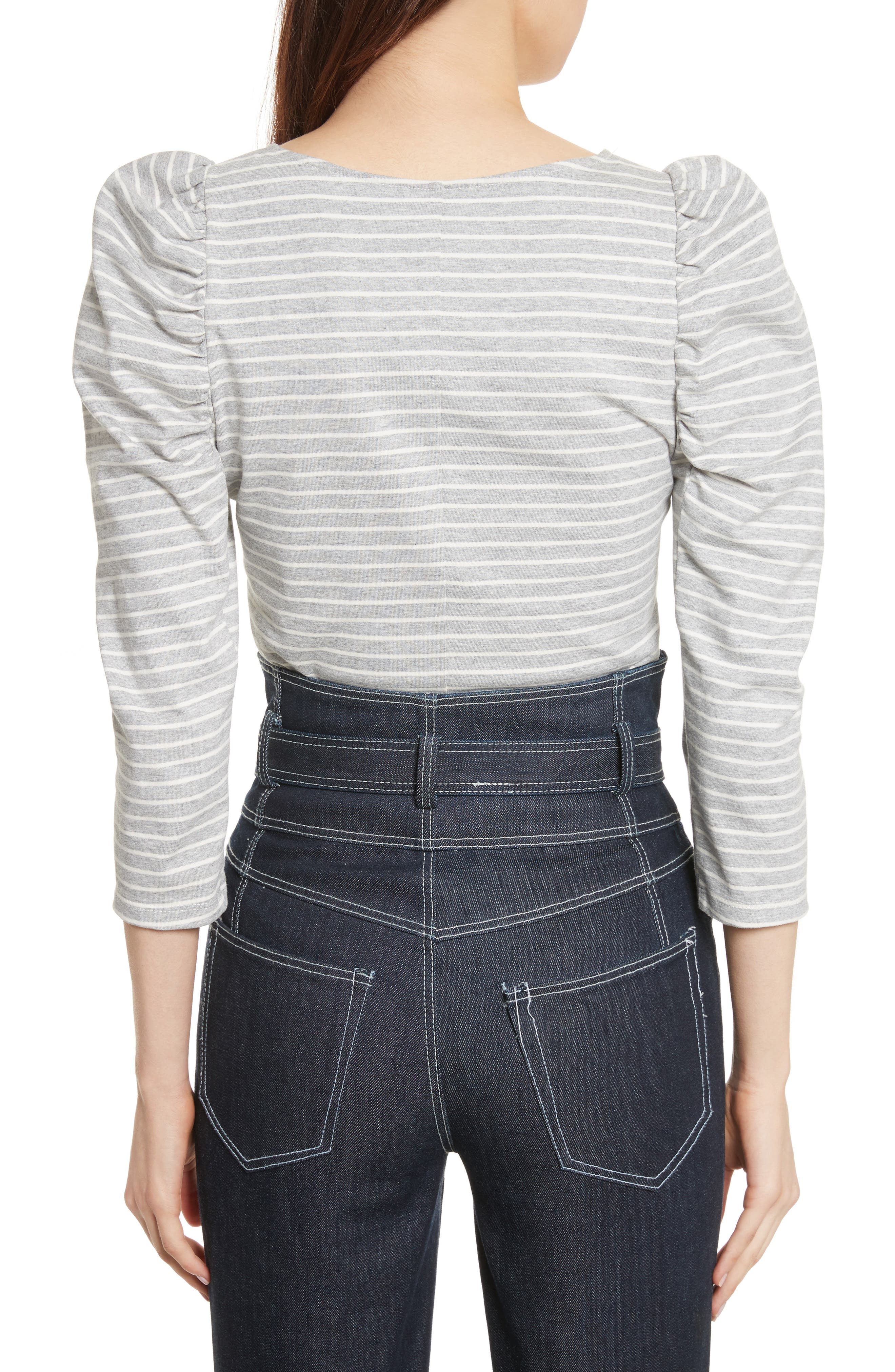 Stripe Jersey Top,                             Alternate thumbnail 3, color,                             Heather Grey Combo