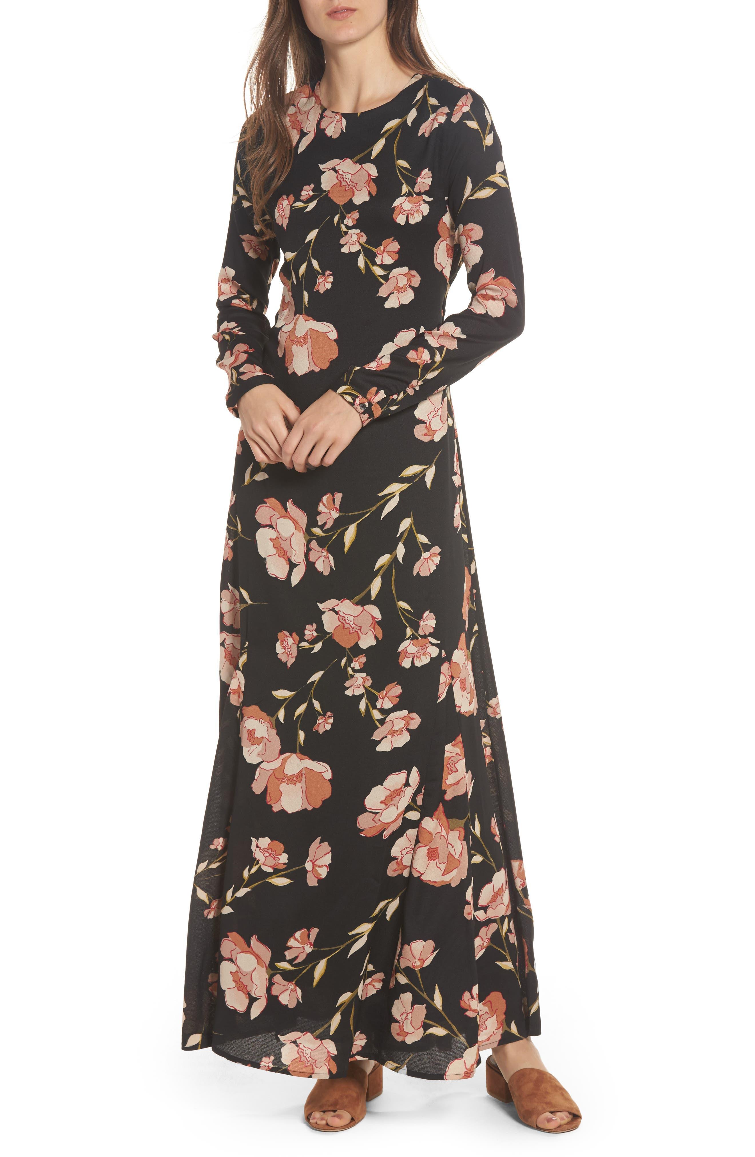 Floral Print Maxi Dress,                             Main thumbnail 1, color,                             Black