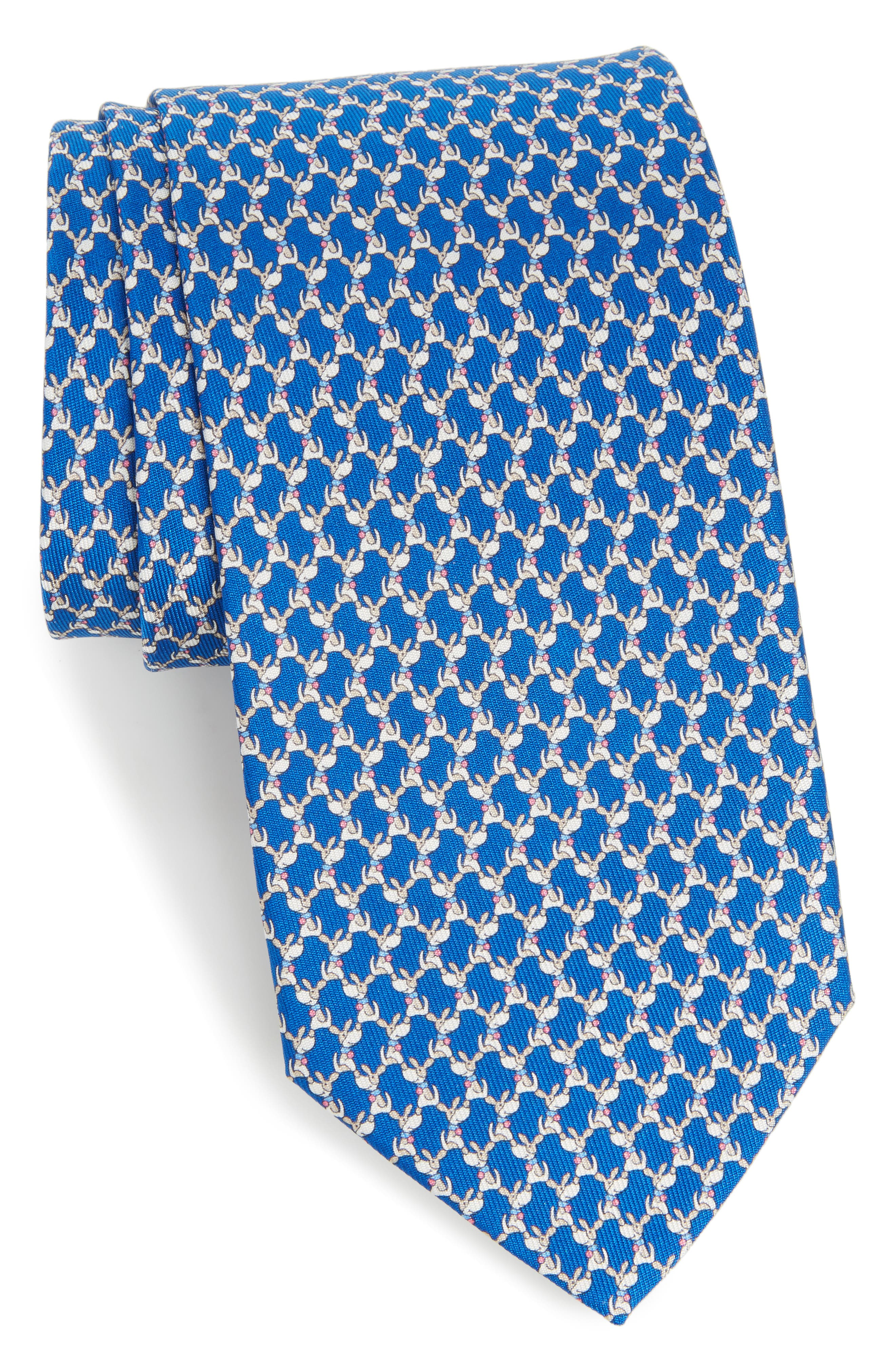 Salvatore Ferragamo Riccardo Dog Print Silk Tie