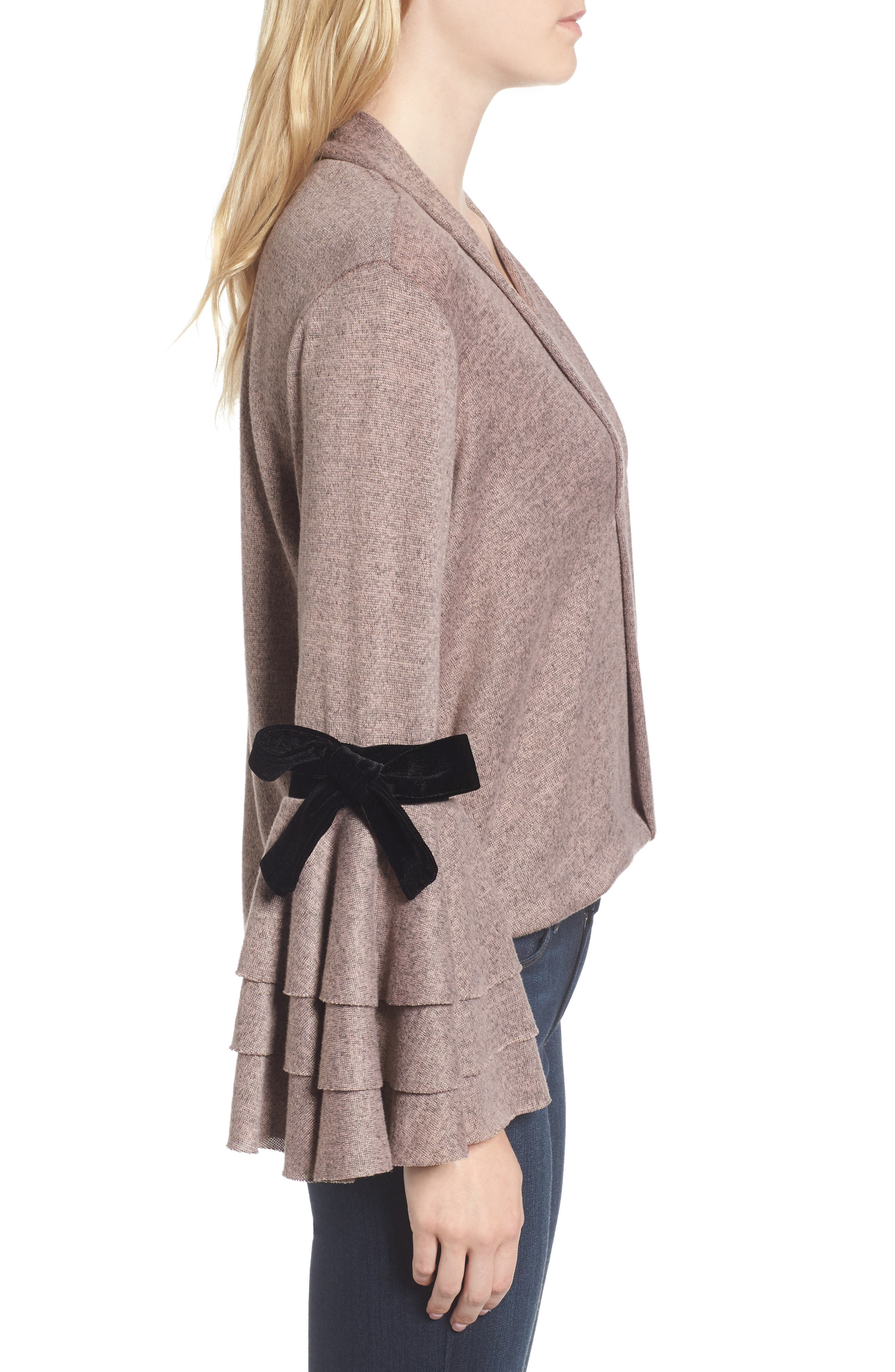 Milena Tie Bell Sleeve Sweater,                             Alternate thumbnail 3, color,                             Orchid
