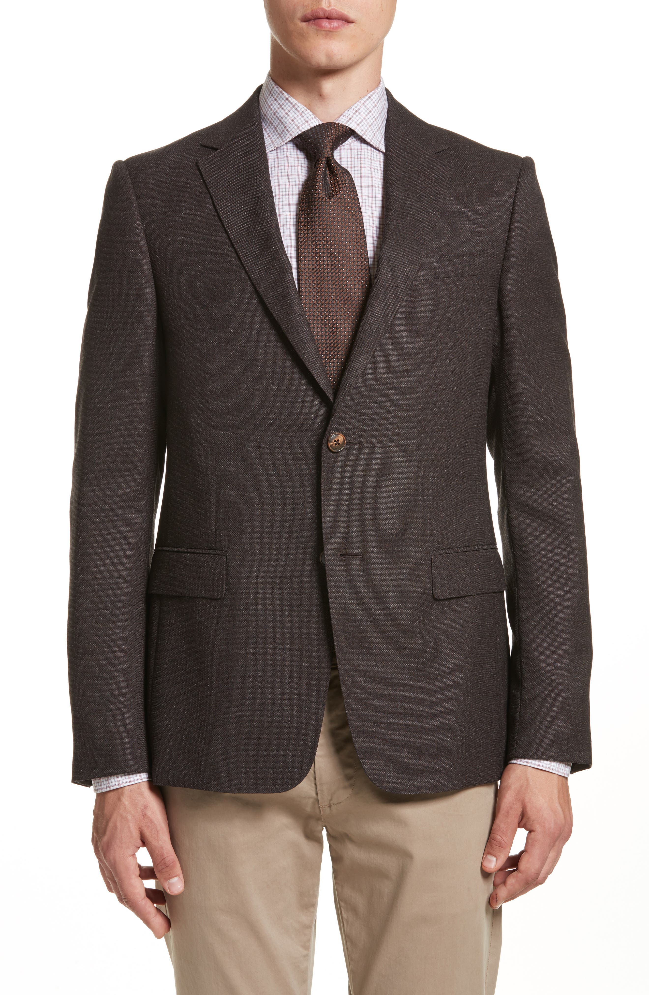 Classic Fit Wool Blazer,                         Main,                         color, Dark Brown Solid