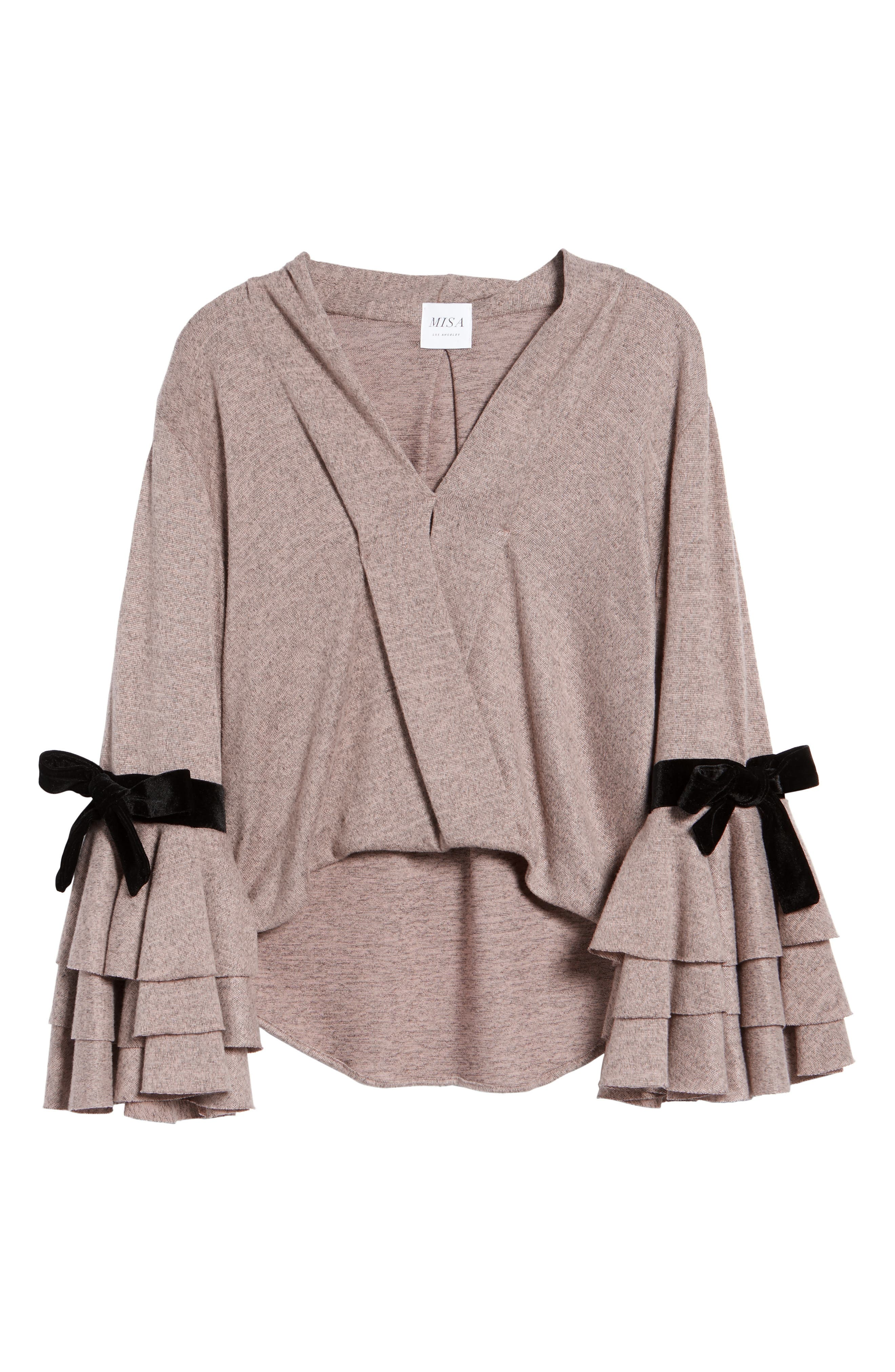 Milena Tie Bell Sleeve Sweater,                             Alternate thumbnail 6, color,                             Orchid