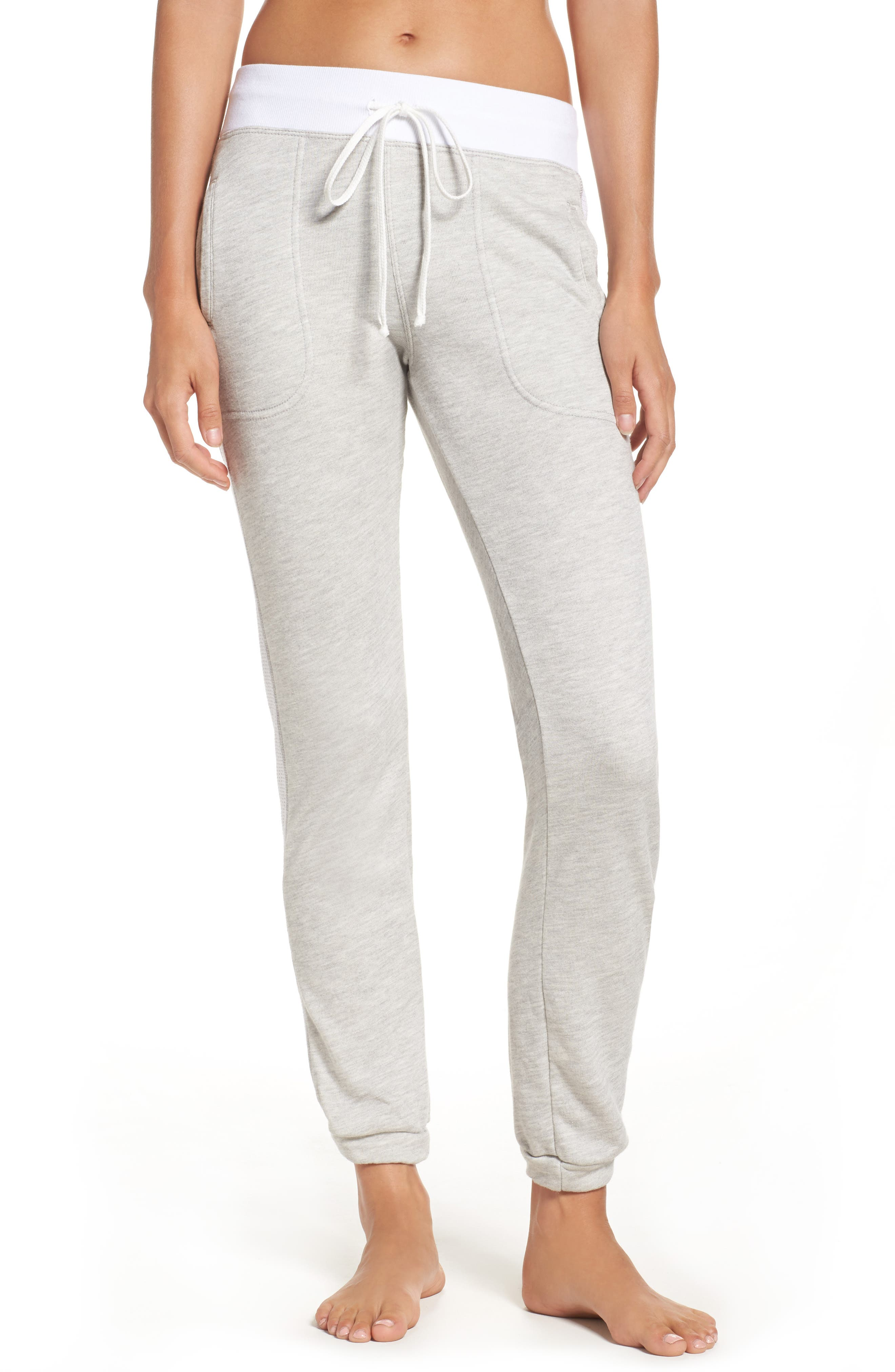 Mesh Stripe Track Pants,                         Main,                         color, Heather