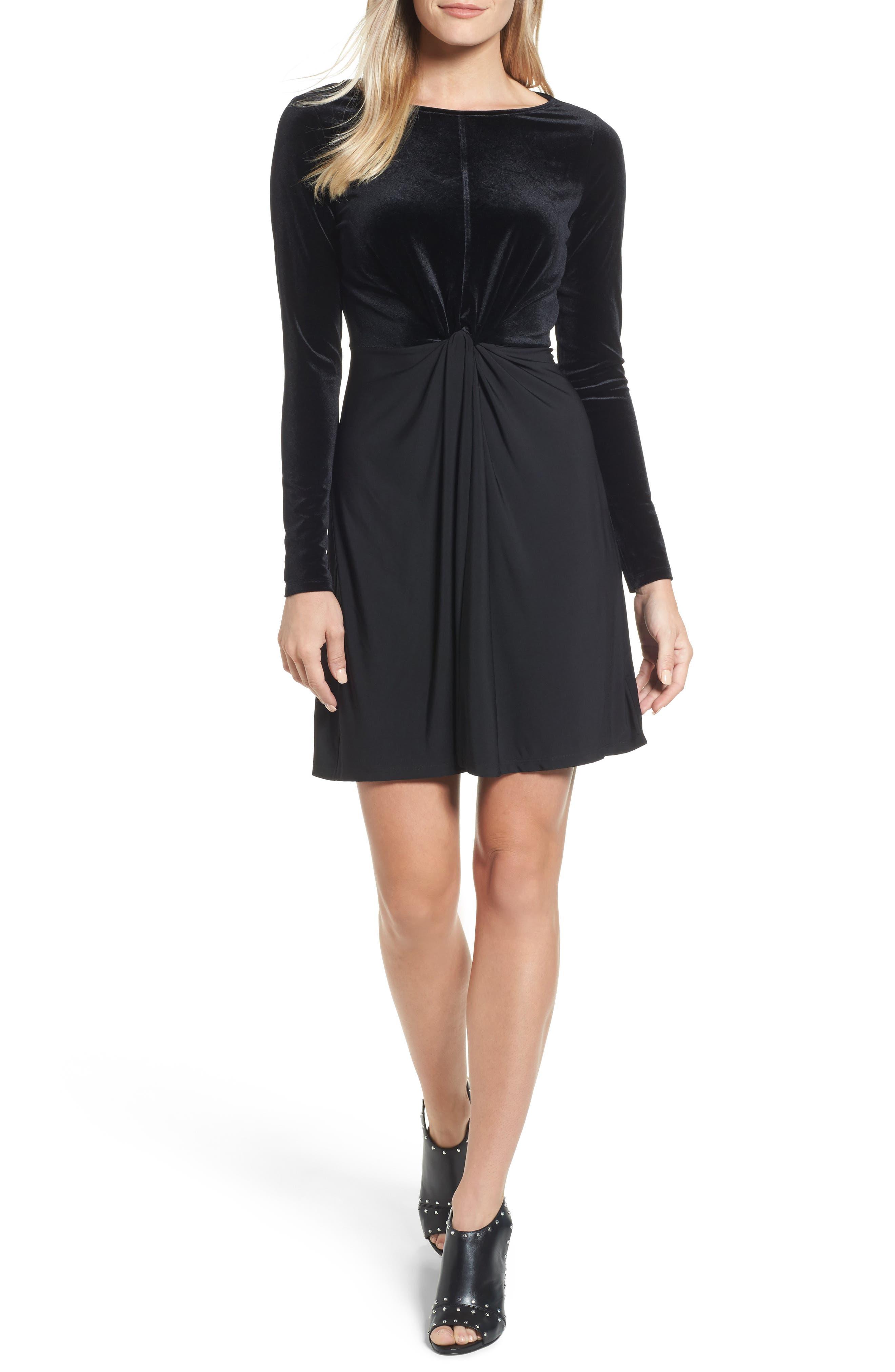 Velvet Mix Twist Dress,                         Main,                         color, Black