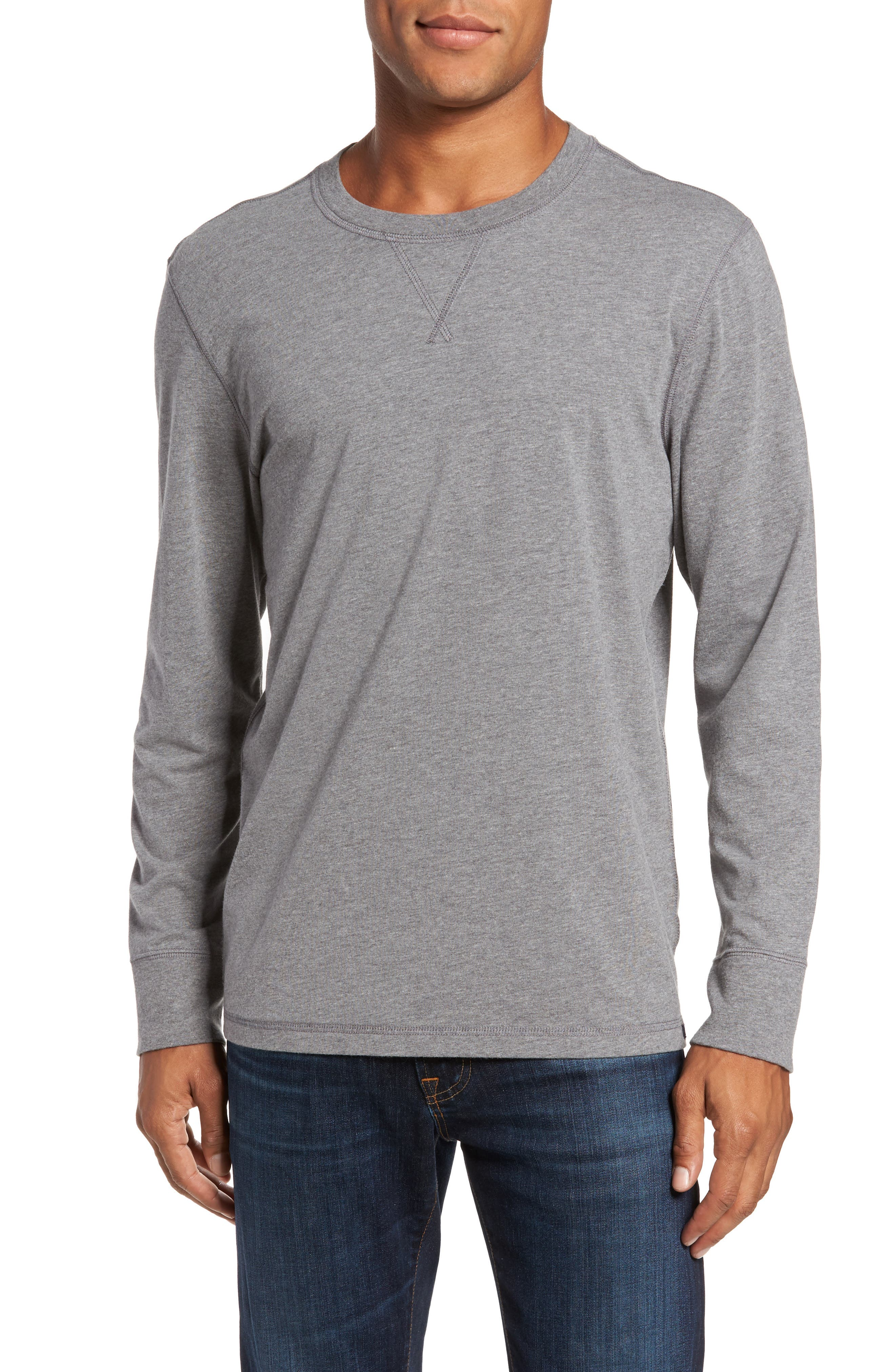 Notch Long Sleeve T-Shirt,                         Main,                         color, Grey