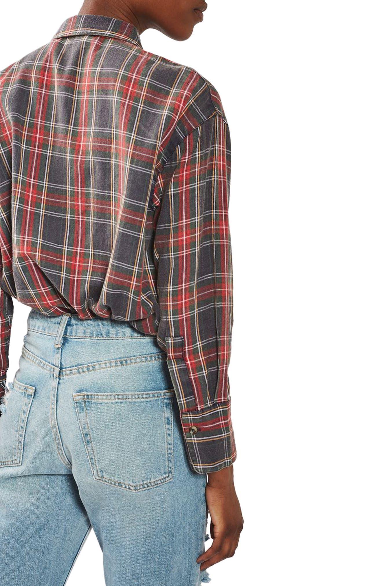 Washed Tartan Shirt,                             Alternate thumbnail 3, color,                             Red Multi