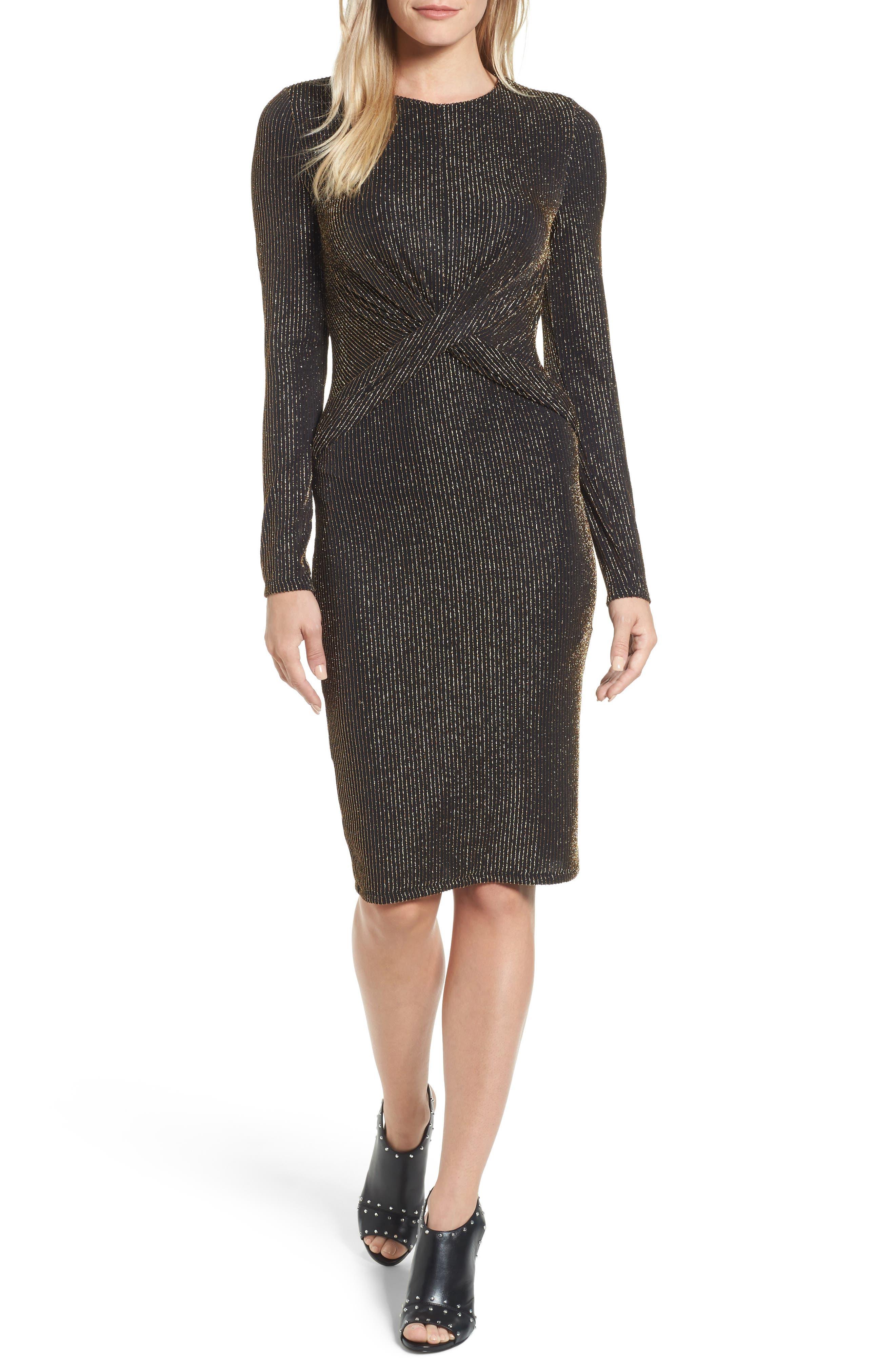 Main Image - MICHAEL Michael Kors Twist Waist Metallic Dress