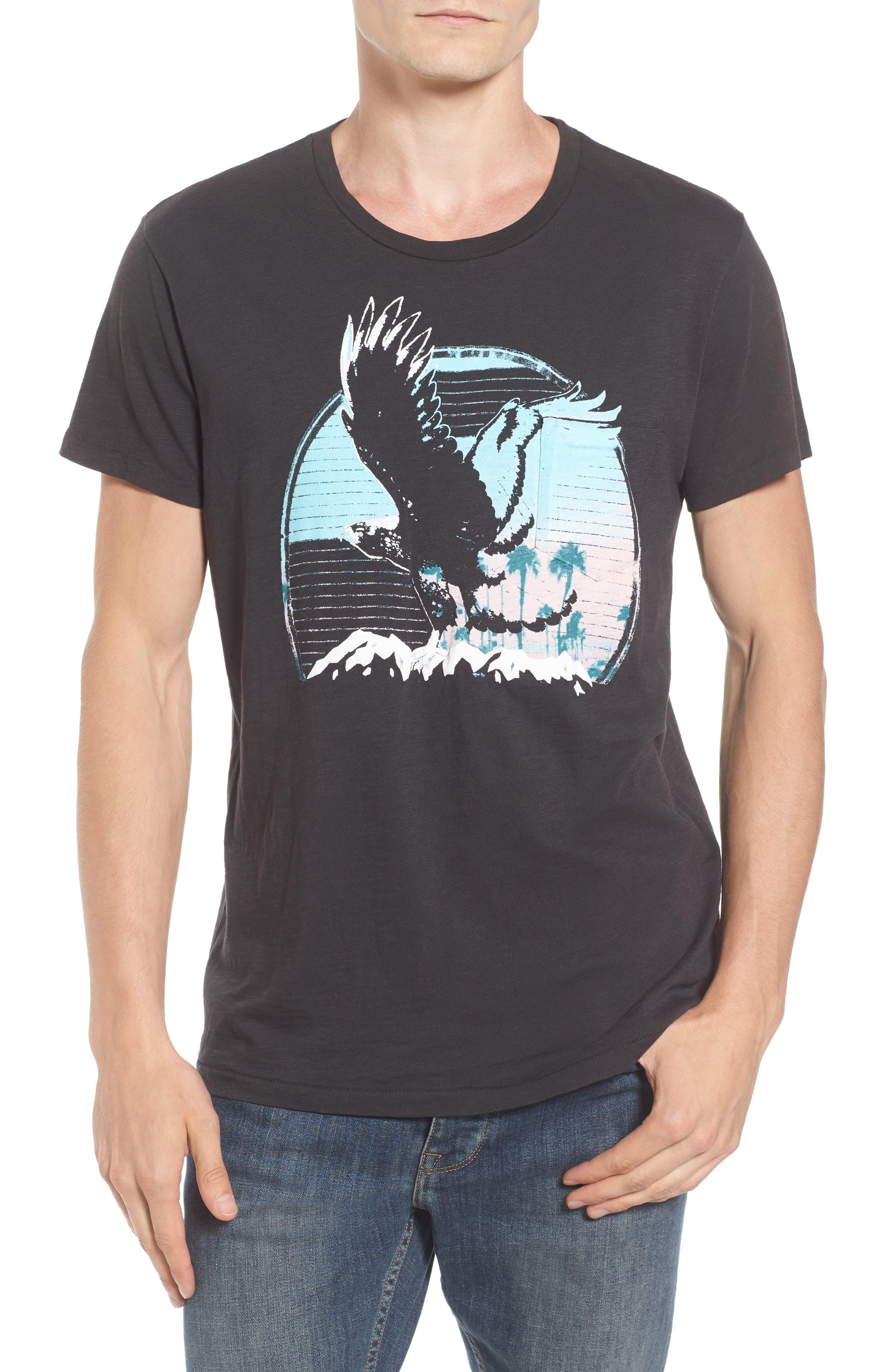Sunset Eagle Pocket T-Shirt,                         Main,                         color, V Black