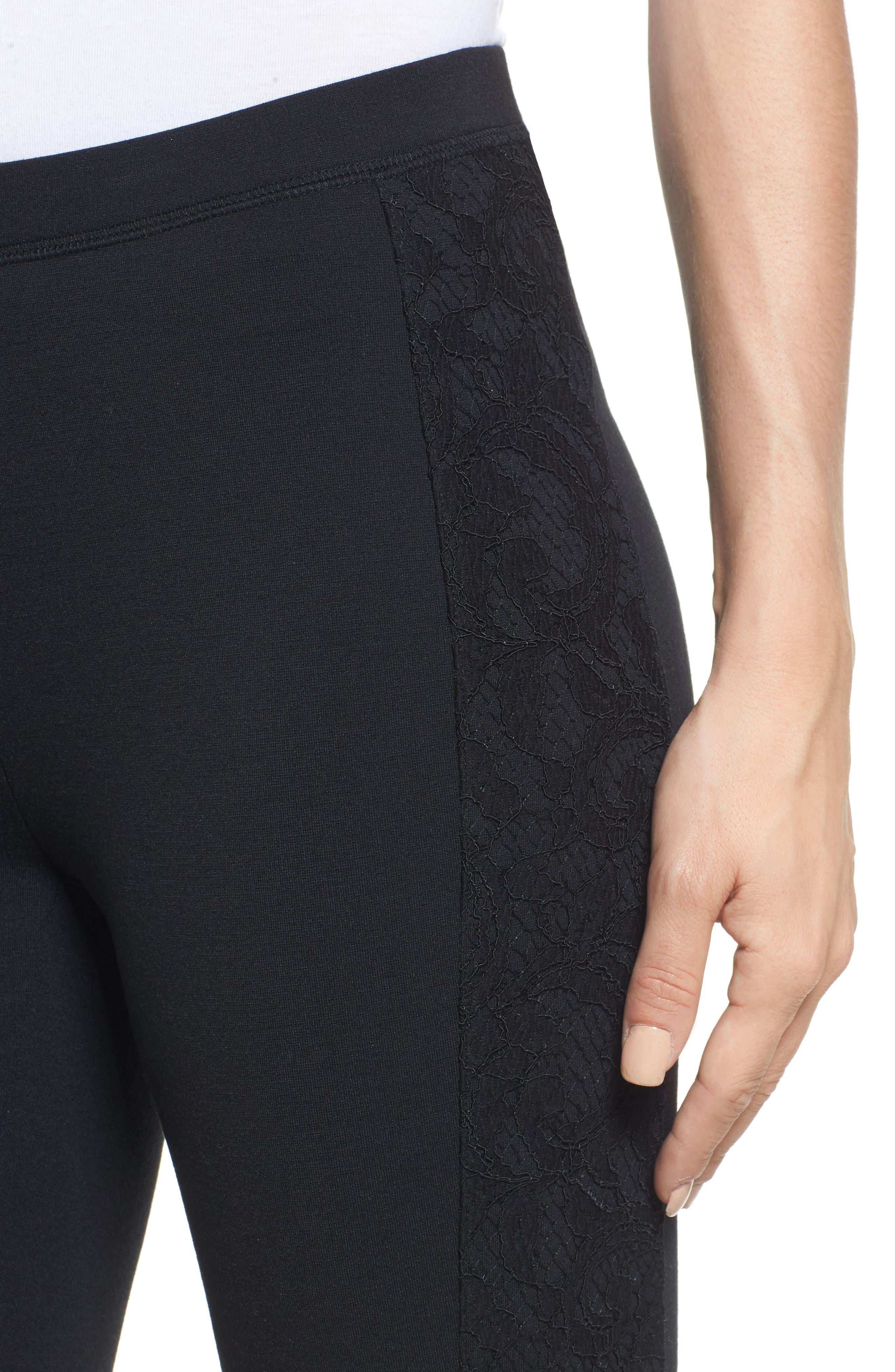 Lace Side Leggings,                             Alternate thumbnail 4, color,                             Black