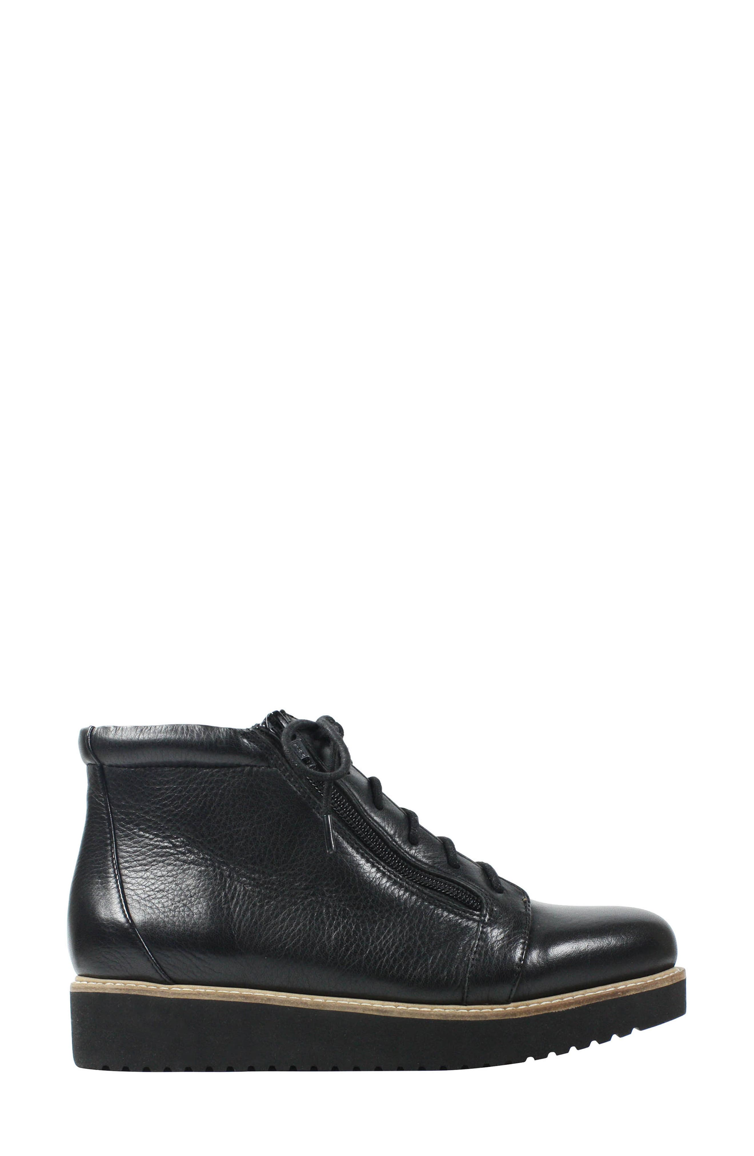 Xandrie Bootie,                             Alternate thumbnail 3, color,                             Black Leather