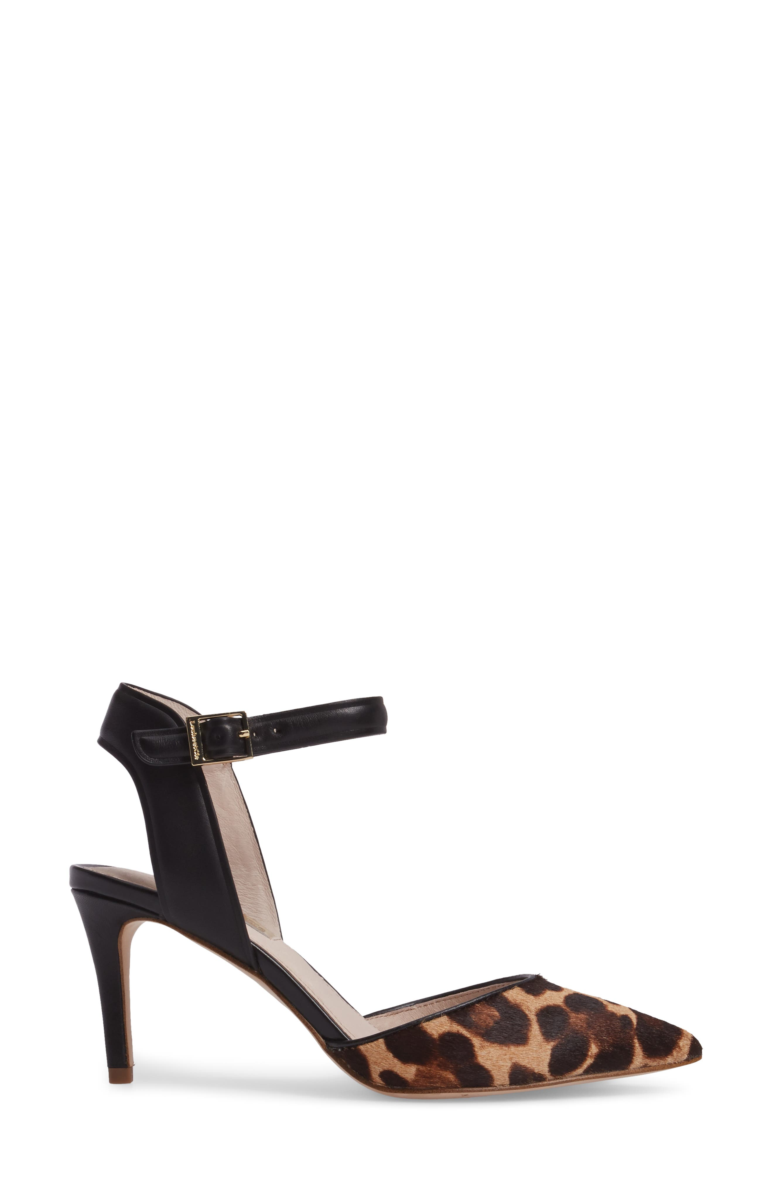 Kota Ankle Strap Pump,                             Alternate thumbnail 3, color,                             Leopard Print Calf Hair