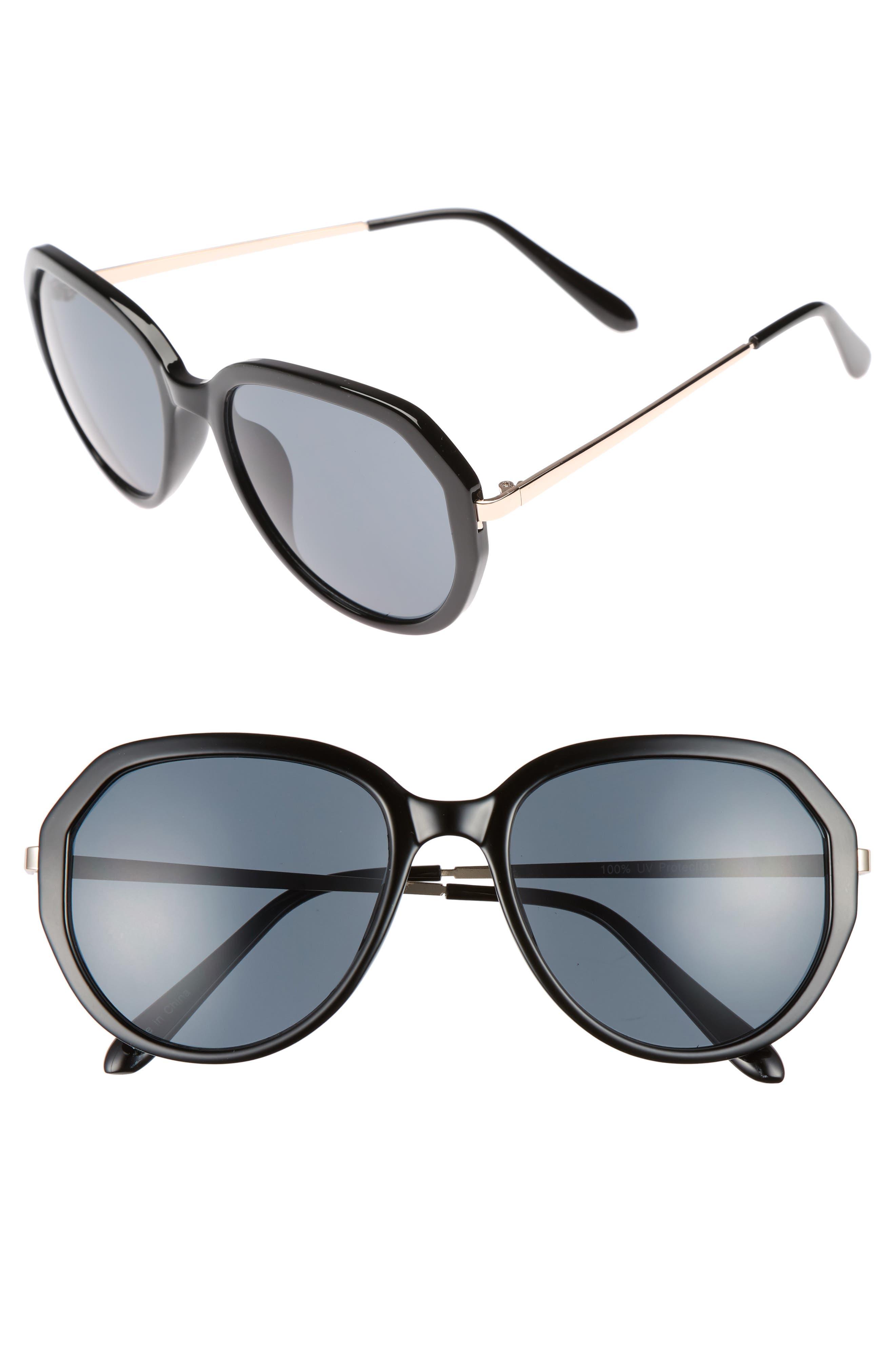 60mm Geo Round Sunglasses,                         Main,                         color, Black/ Black
