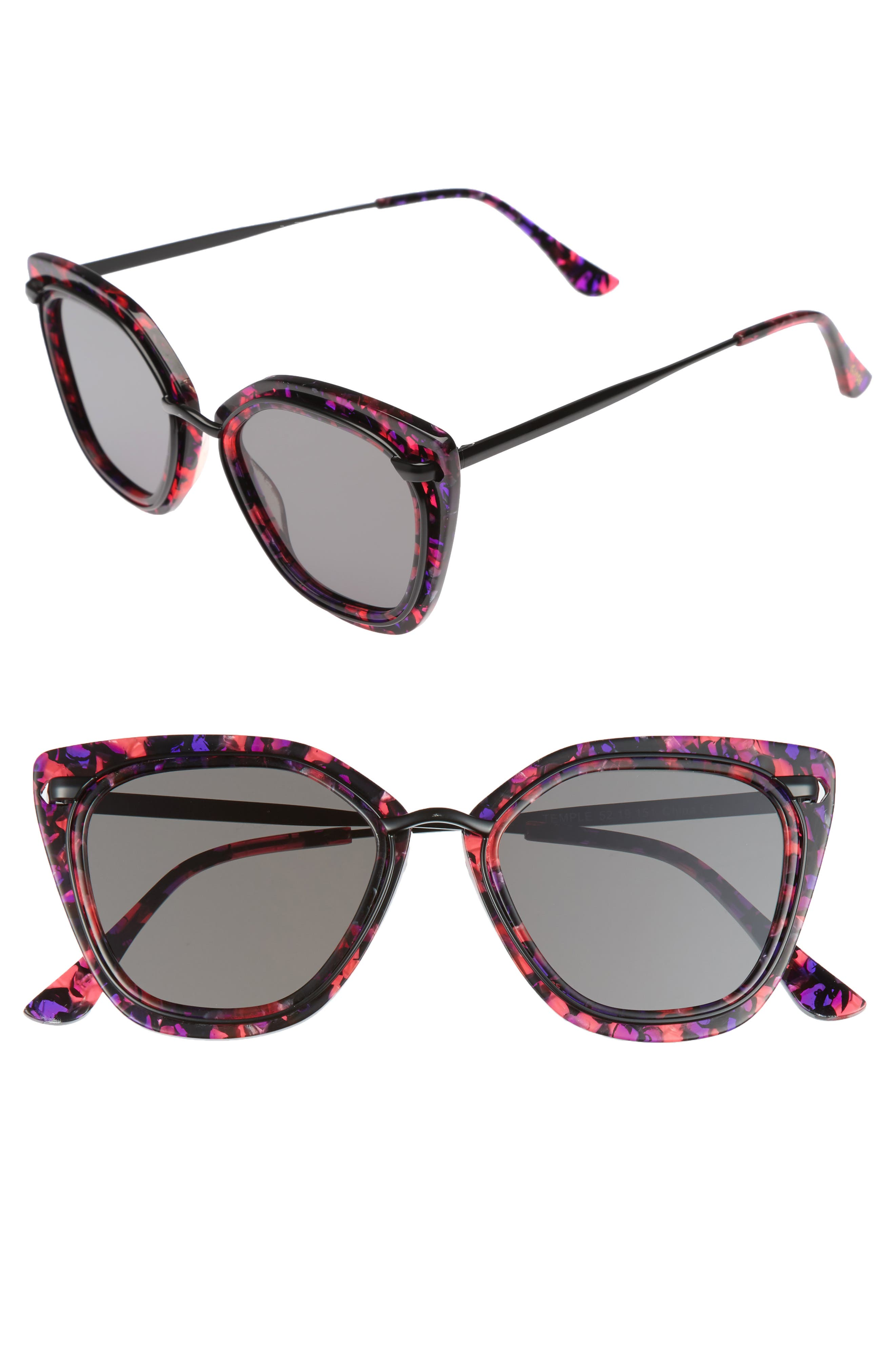 Temple 52mm Sunglasses,                         Main,                         color, Purple Tortoise