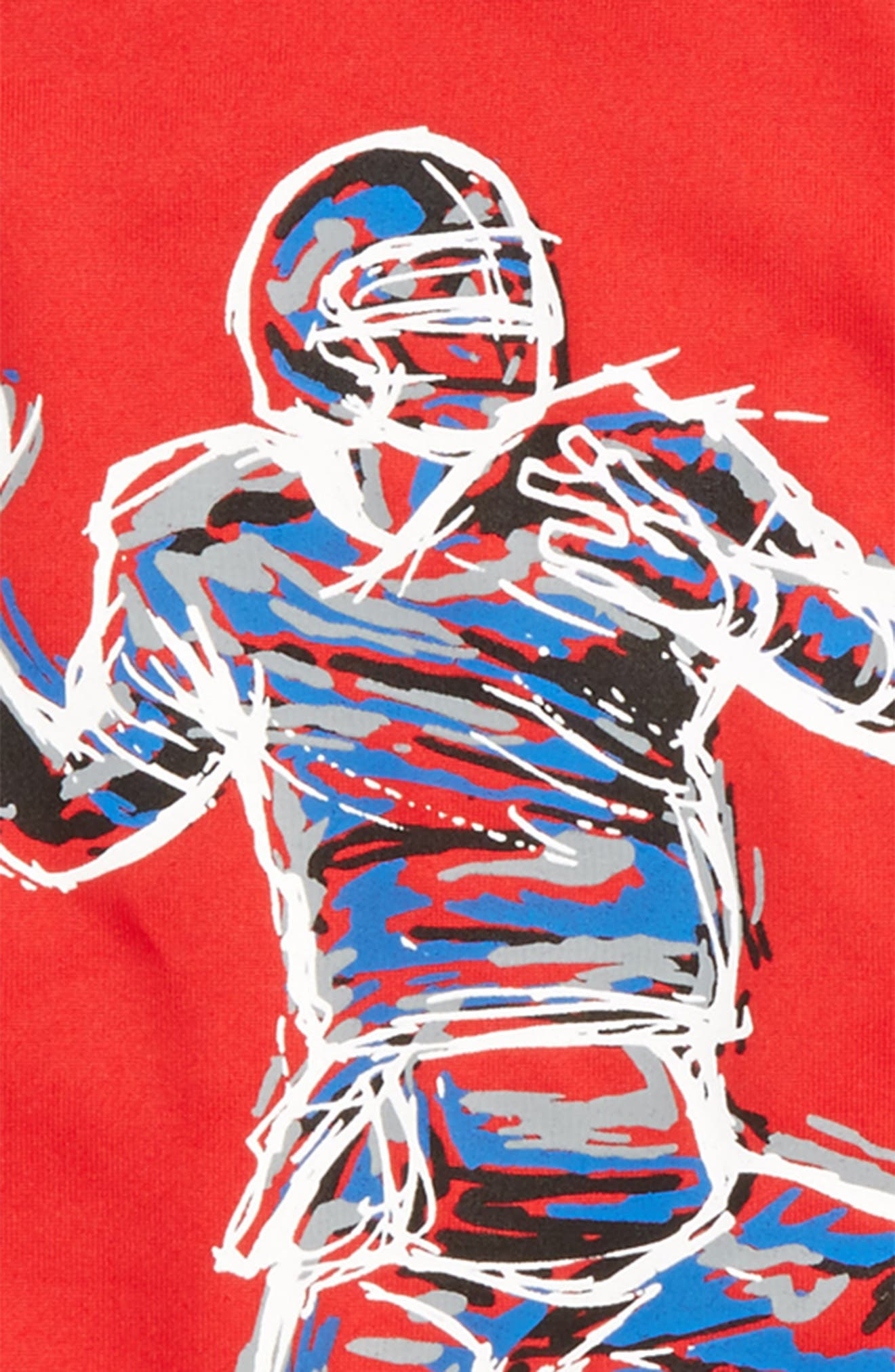 Illuminated QB Glow in the Dark T-Shirt,                             Alternate thumbnail 3, color,                             Red