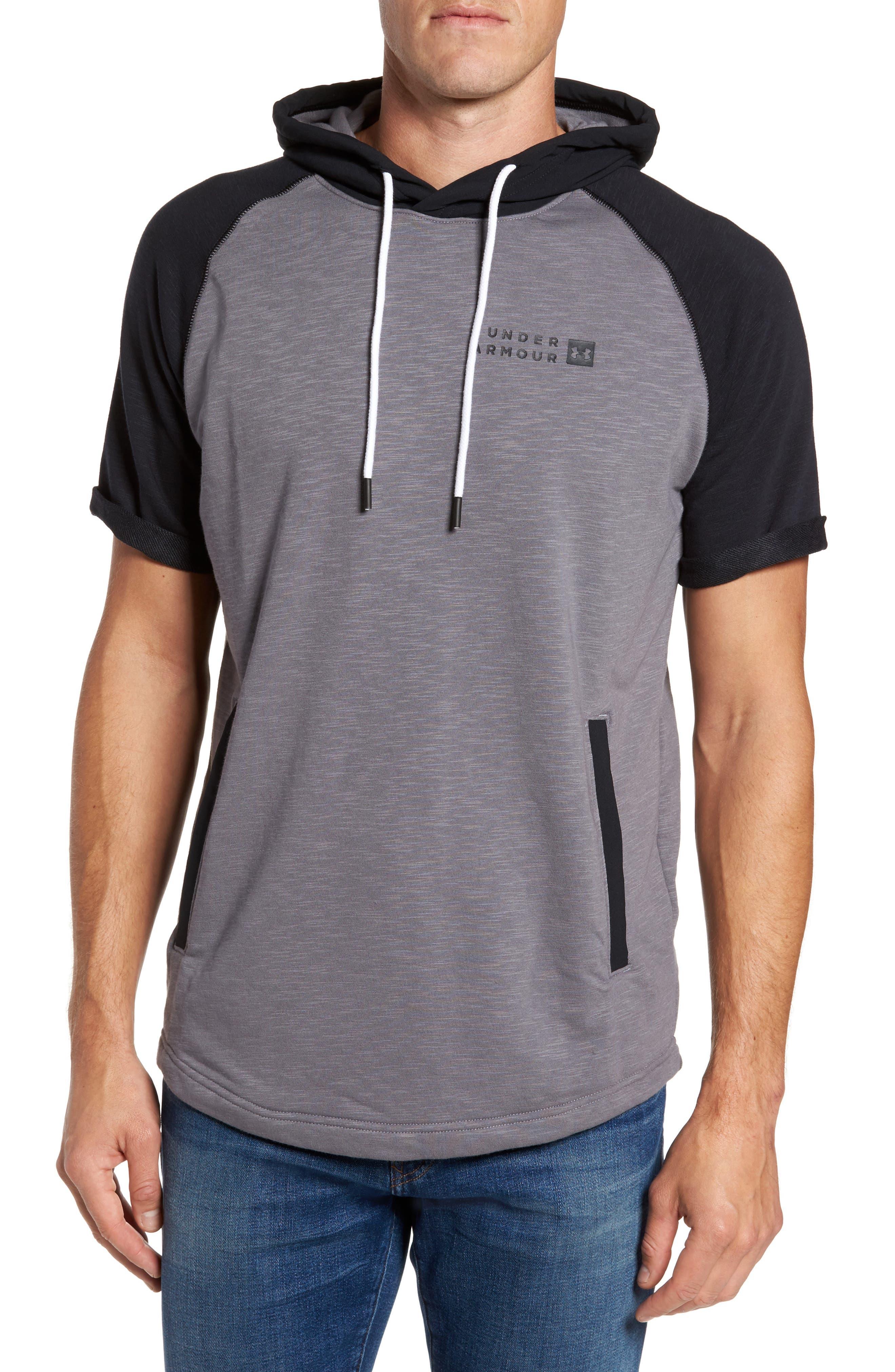Sportstyle Short Sleeve Hoodie,                         Main,                         color, True Gray Heather / Black