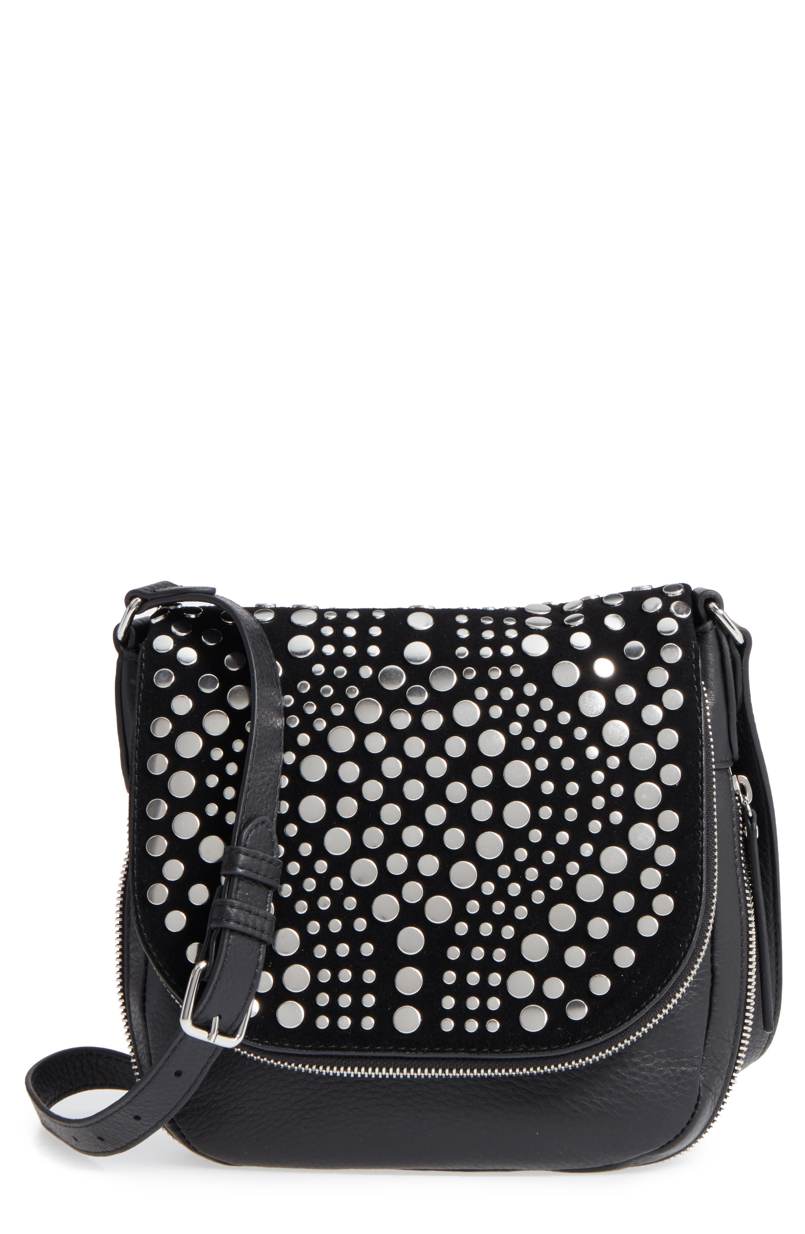 Bonny Studded Leather Crossbody Bag,                         Main,                         color, Nero