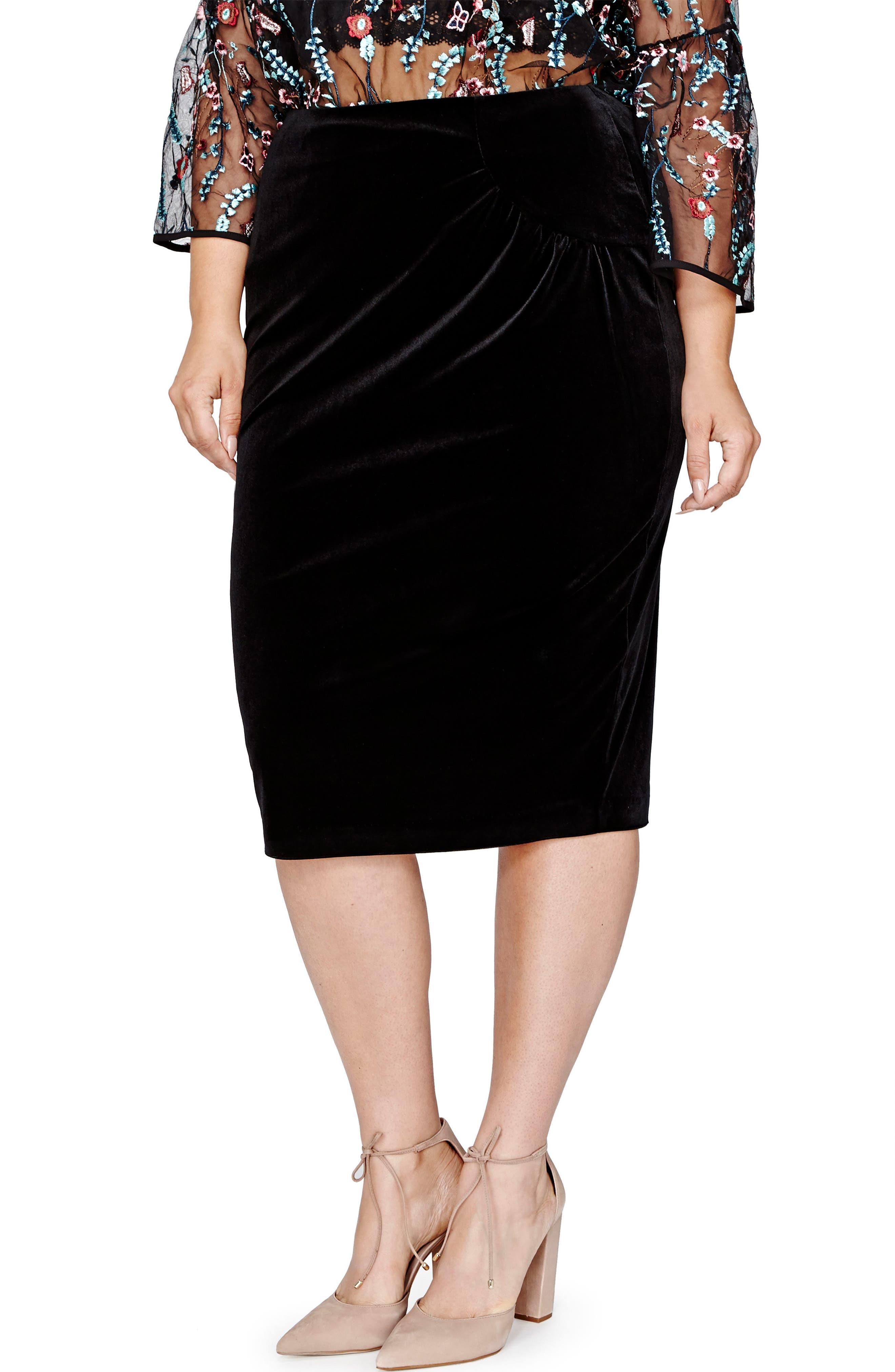 Main Image - MICHEL STUDIO Pegged Velvet Skirt (Plus Size)