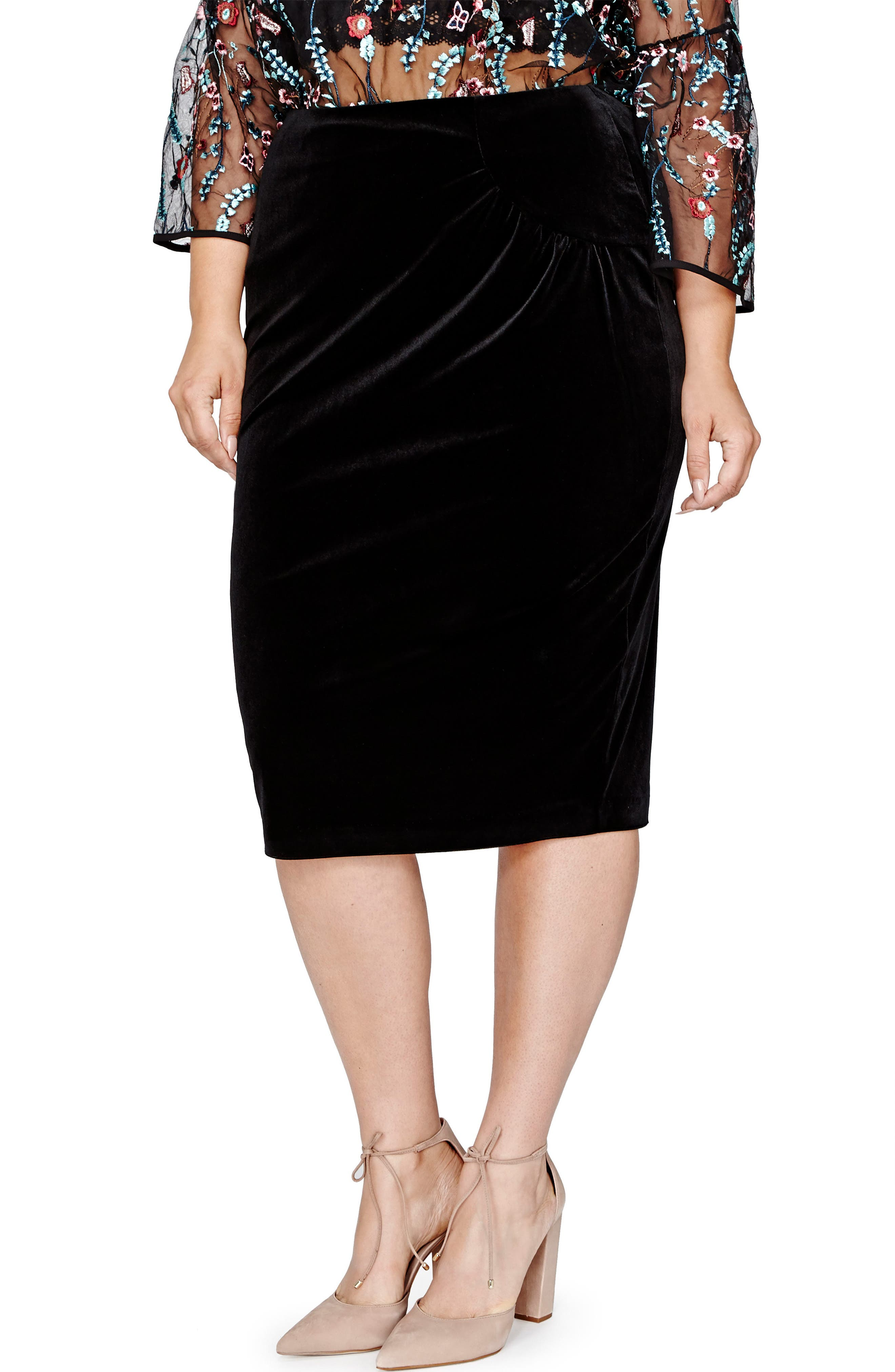 Pegged Velvet Skirt,                         Main,                         color, Black