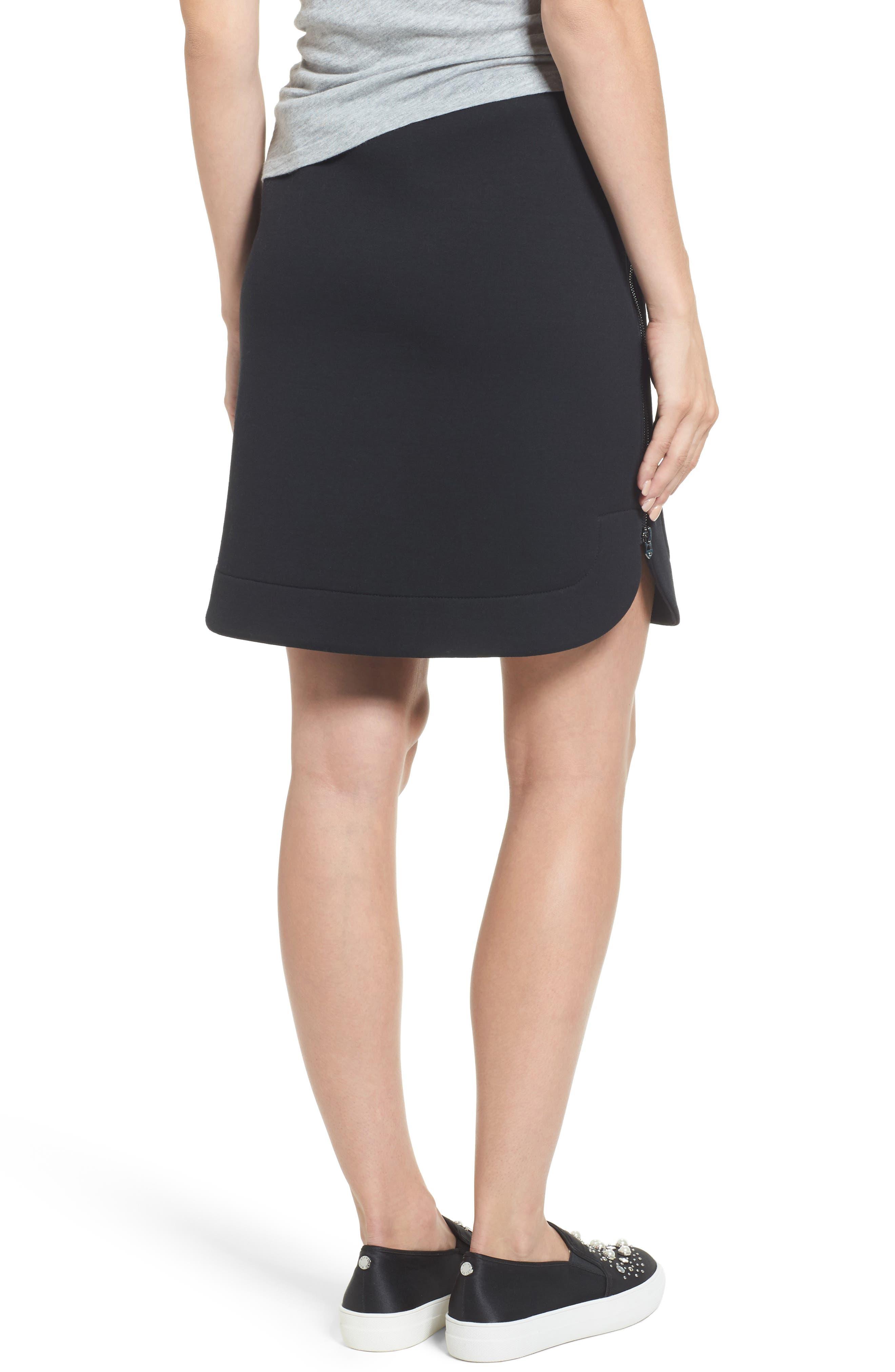 Side Zip Neoprene Skirt,                             Alternate thumbnail 2, color,                             Black