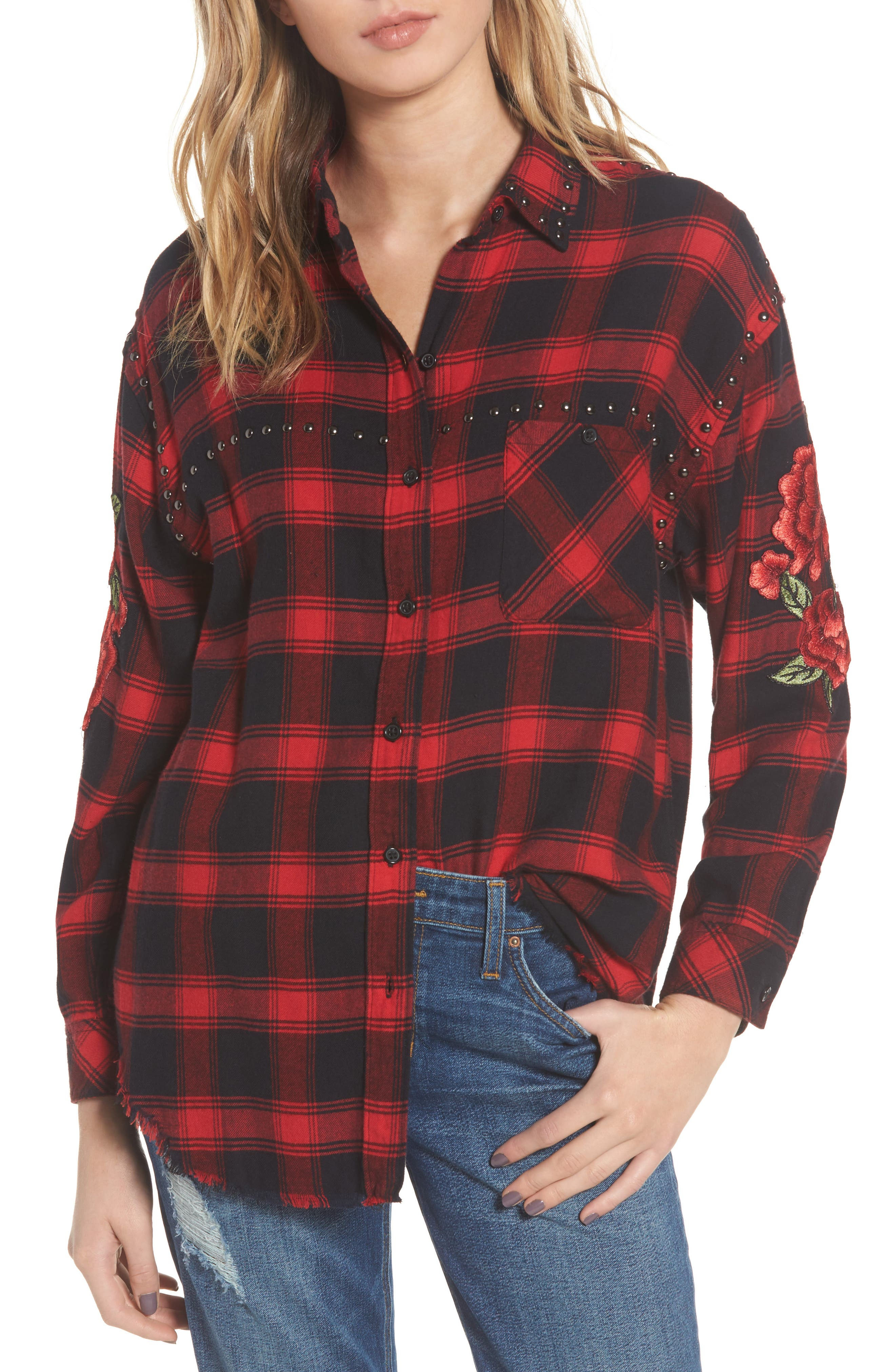 Owen Studded Plaid Shirt,                         Main,                         color, Red Cherry Patch