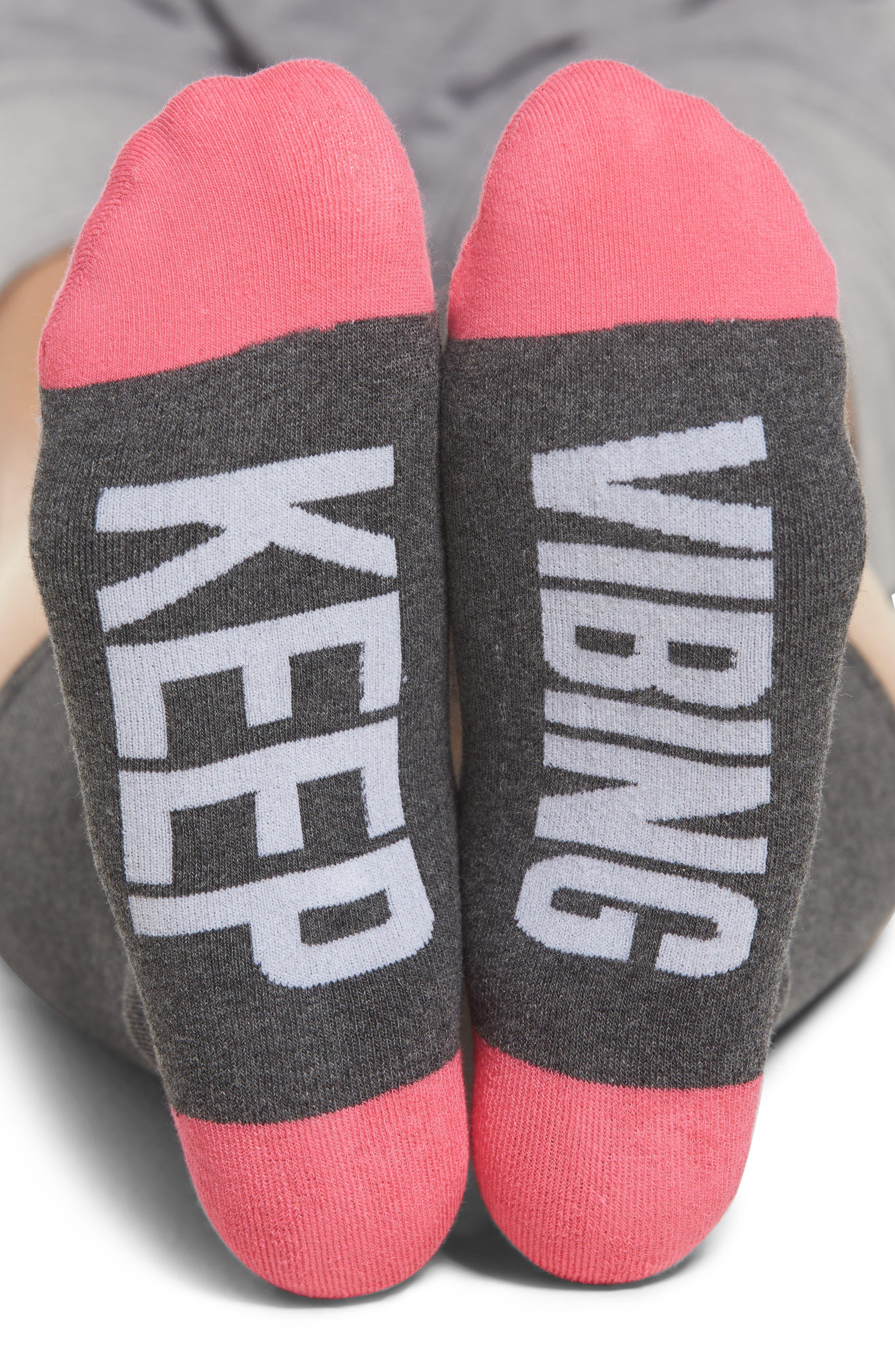 Keep Vibing Crew Socks,                             Main thumbnail 1, color,                             Charcoal Heather