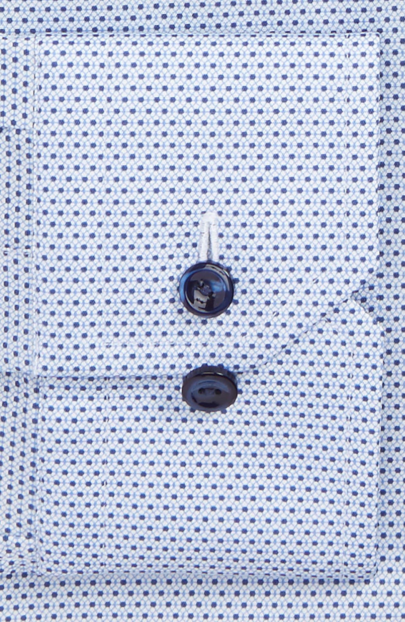 Slim Fit Microprint Dress Shirt,                             Alternate thumbnail 4, color,                             Blue
