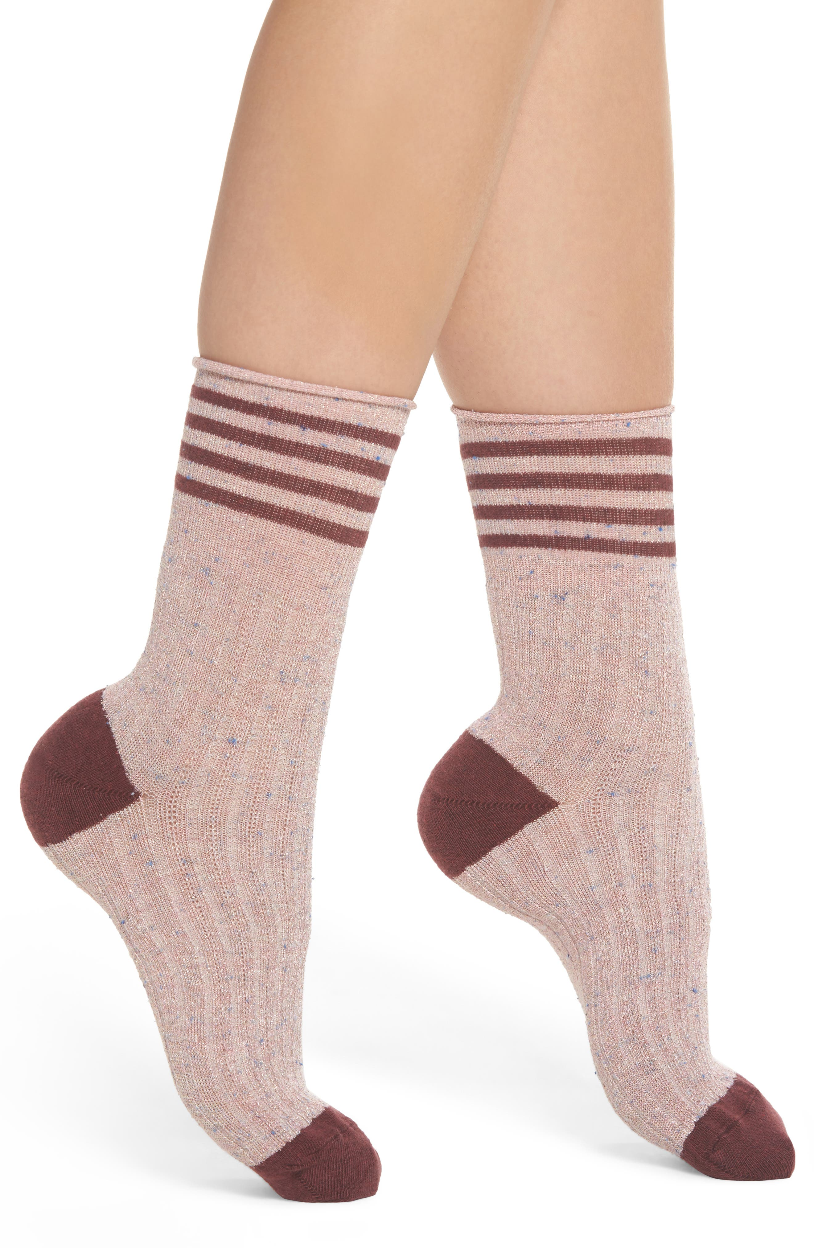 Metallic Tweed Rugby Stripe Crew Socks,                             Main thumbnail 1, color,                             Berry