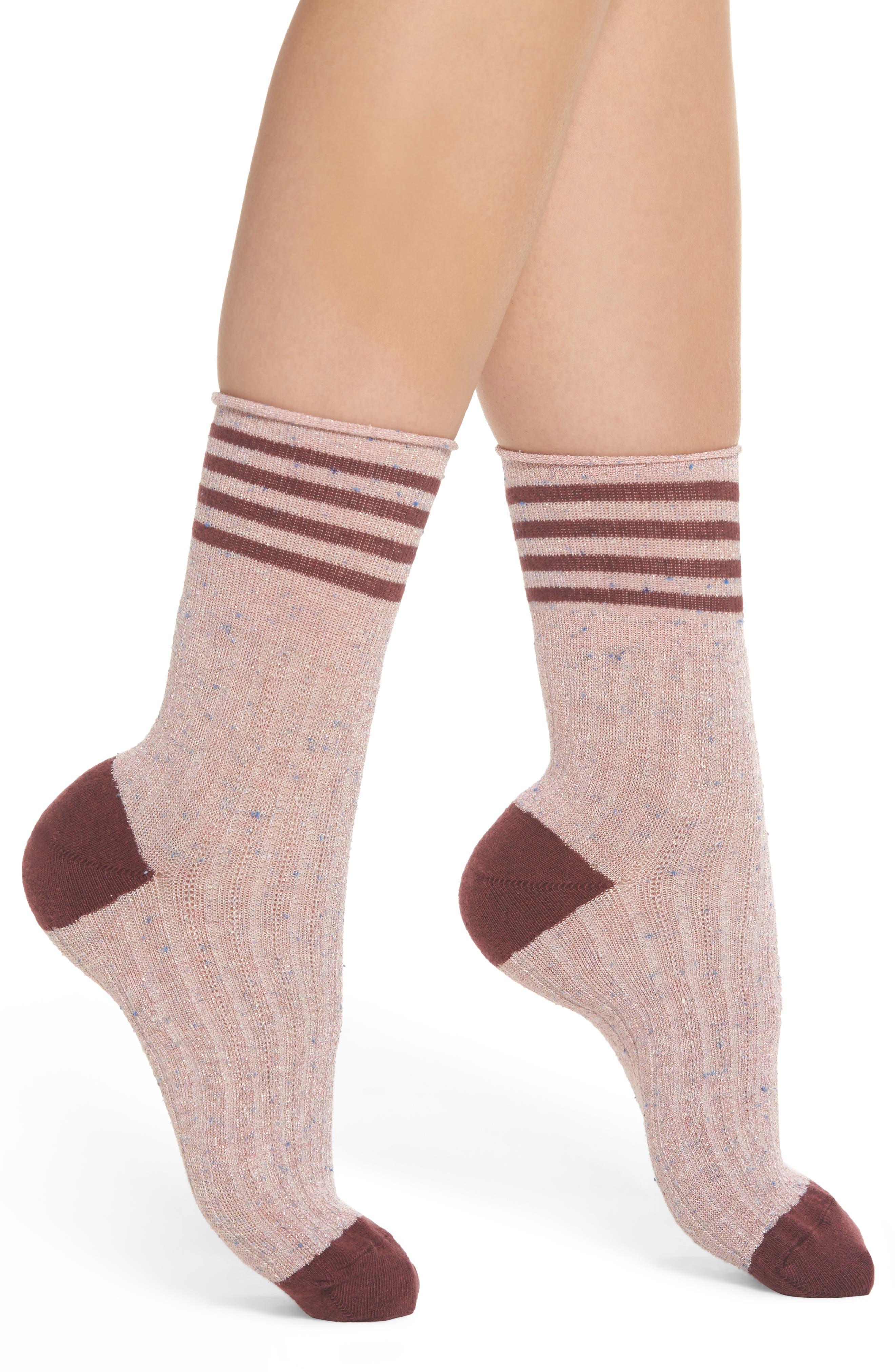 Metallic Tweed Rugby Stripe Crew Socks,                         Main,                         color, Berry