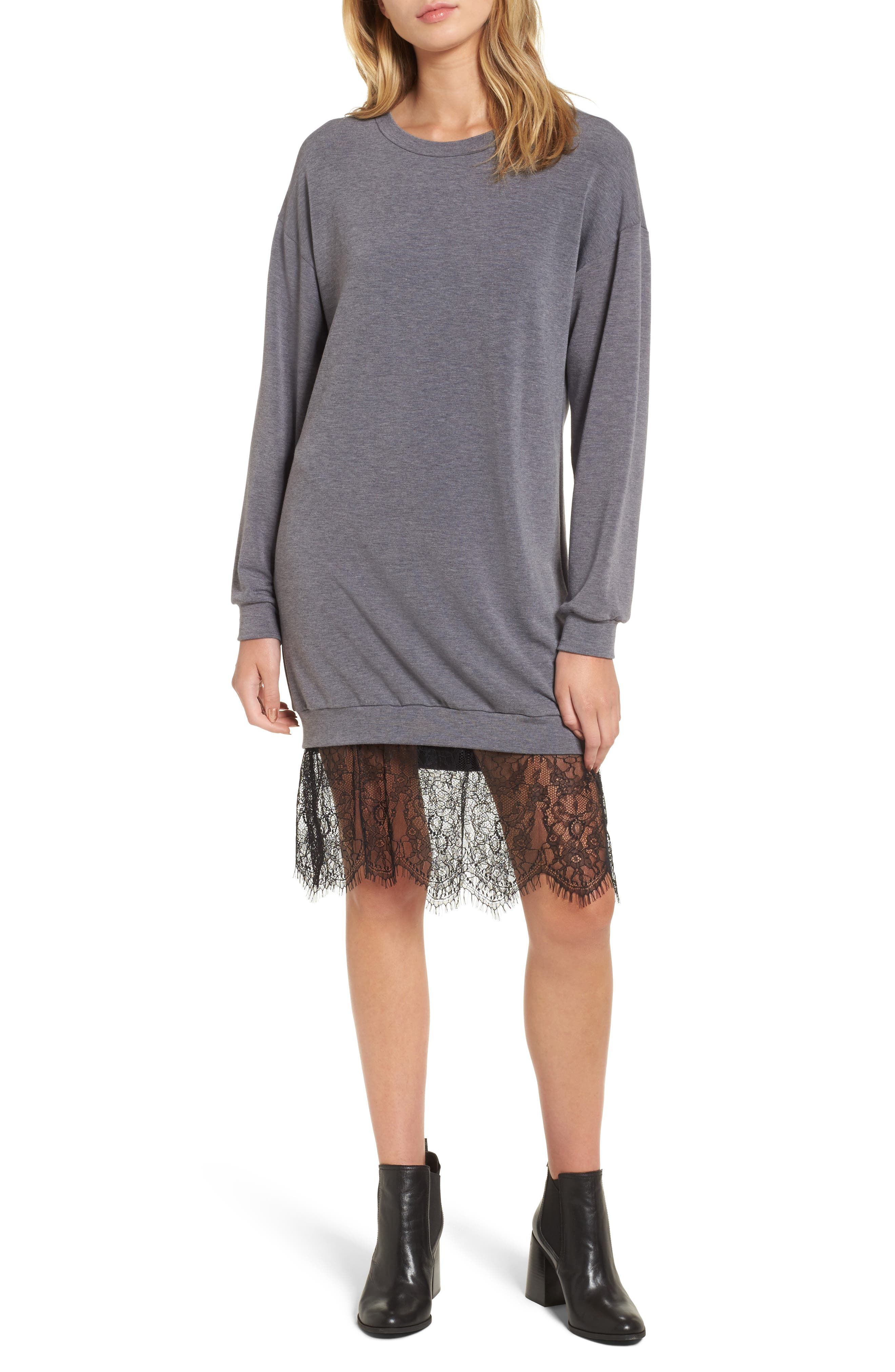 Lace Hem Sweatshirt Dress,                         Main,                         color, Asphalt-Black