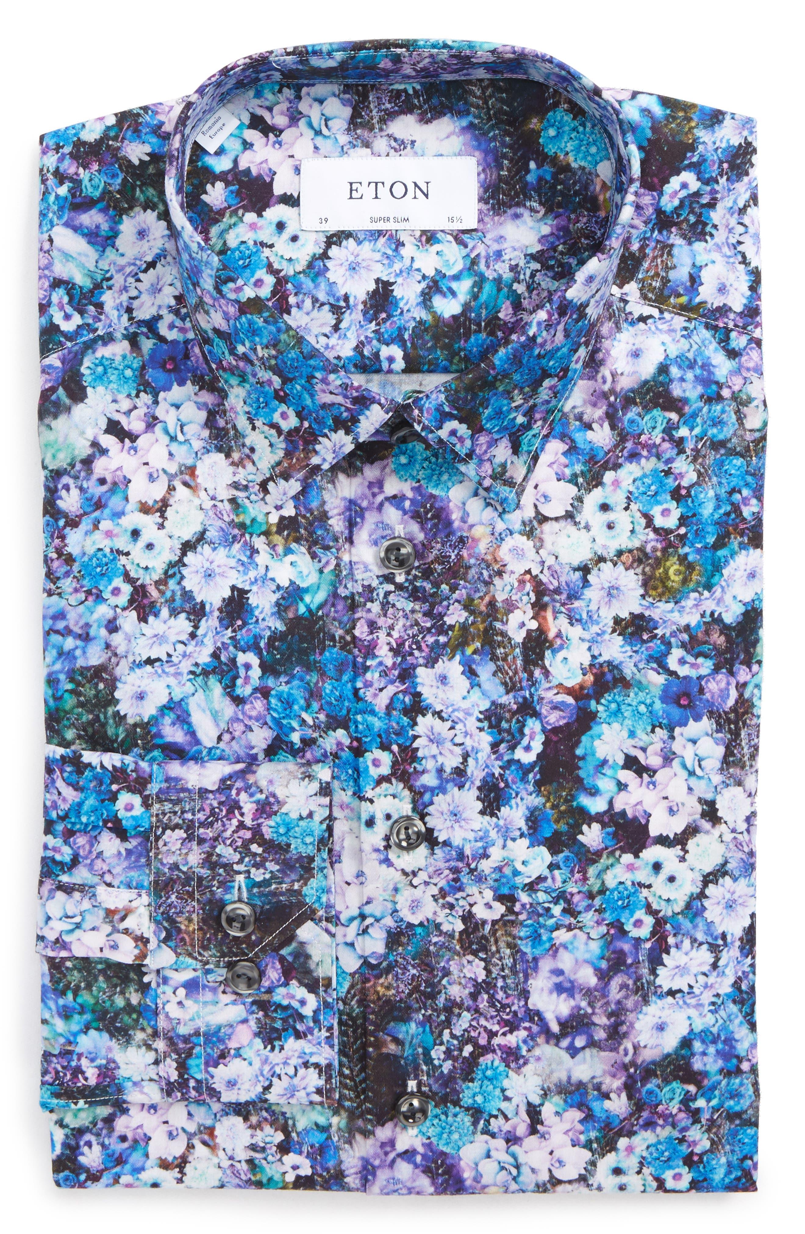 Main Image - Eton Super Slim Fit Floral Print Dress Shirt