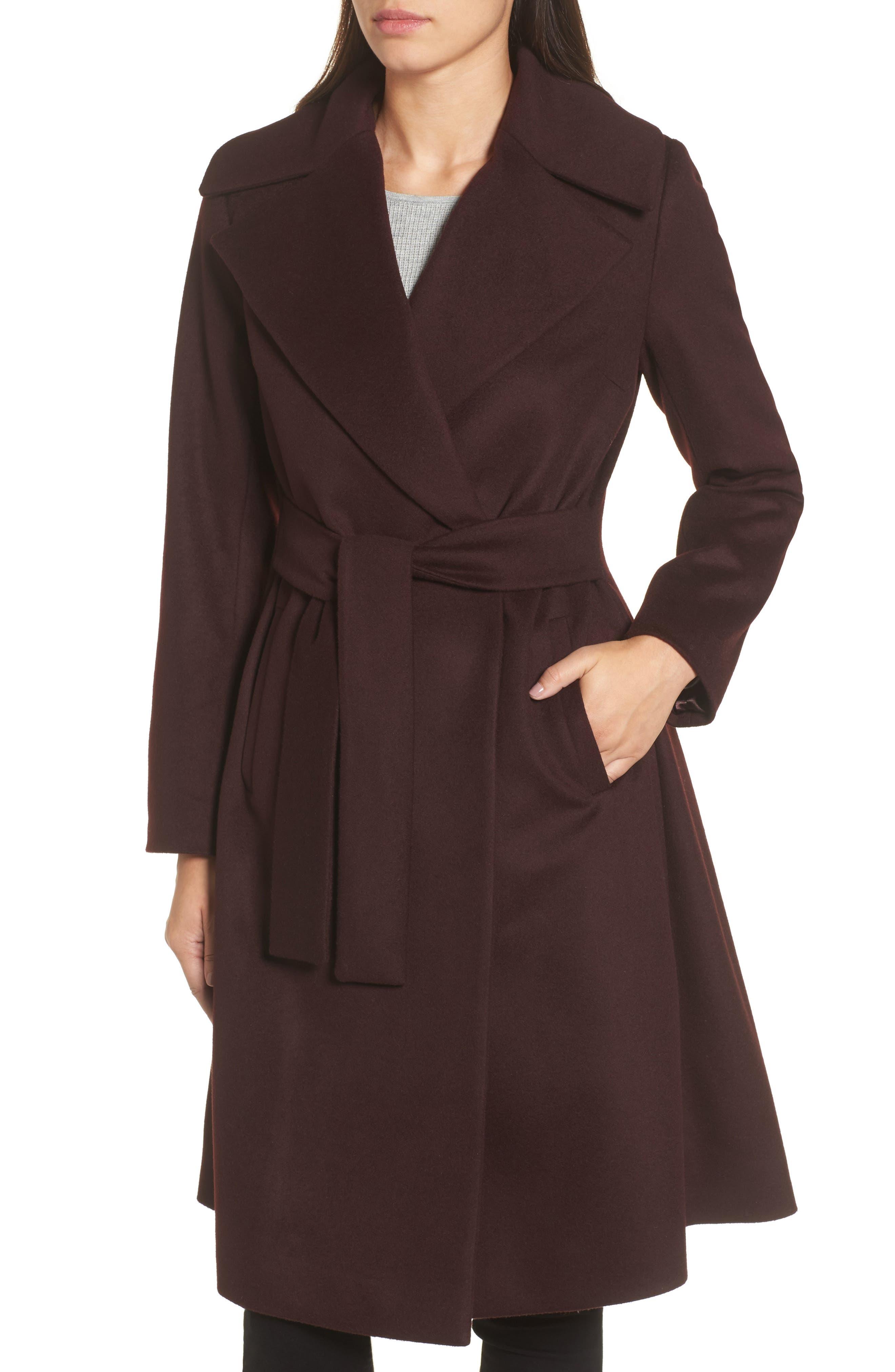 Luna Wool Blend Wrap Coat,                             Alternate thumbnail 3, color,                             Wine