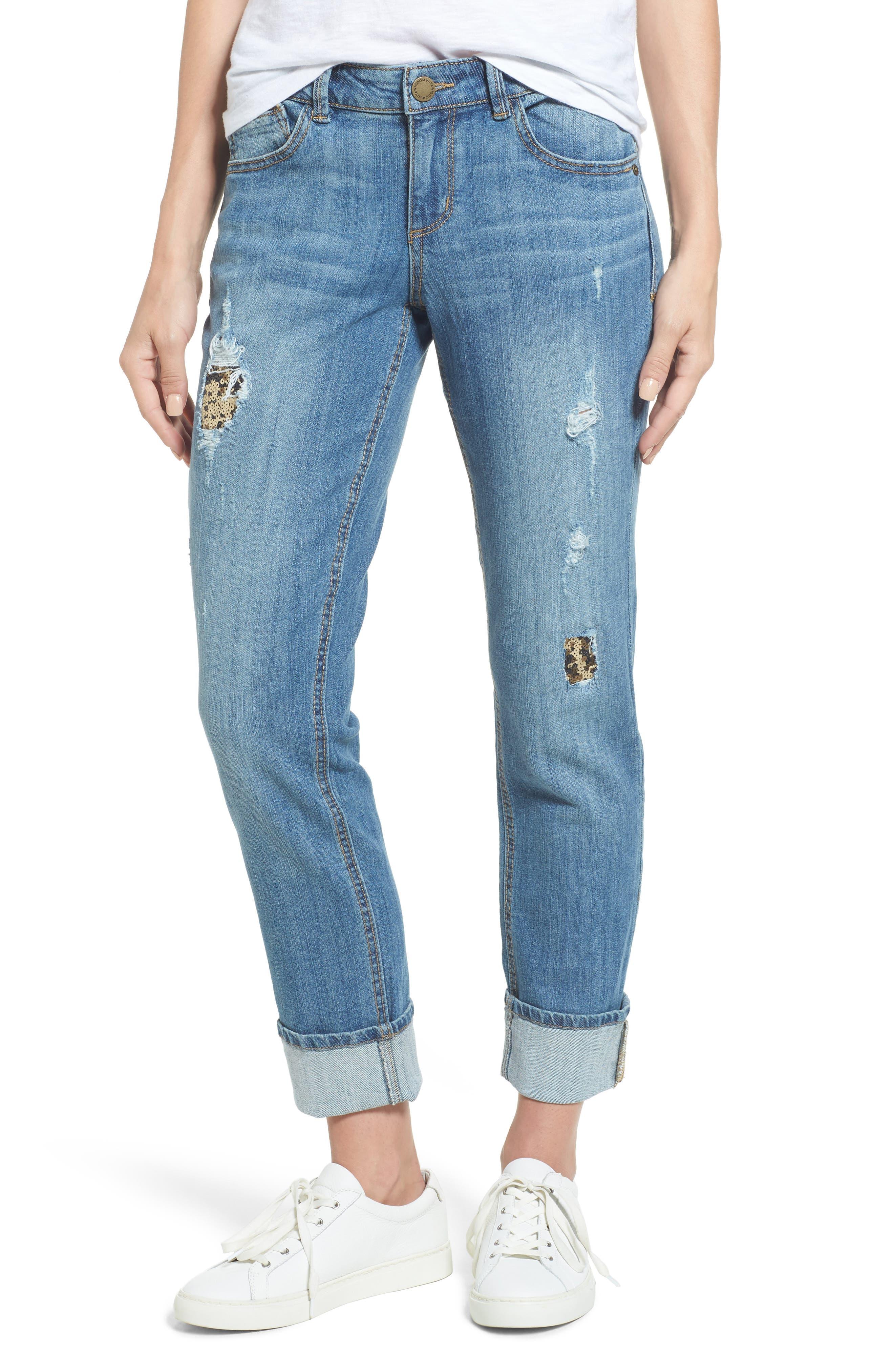 Flexellent Skinny Girlfriend Jeans,                         Main,                         color, Light Blue